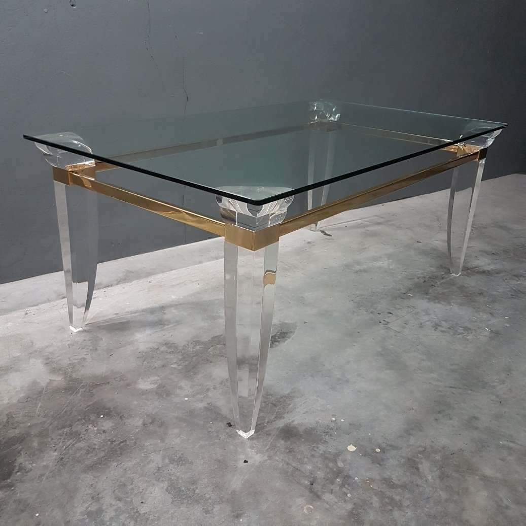 French Lucite Brass Glass Coffee Table 1980s 68175