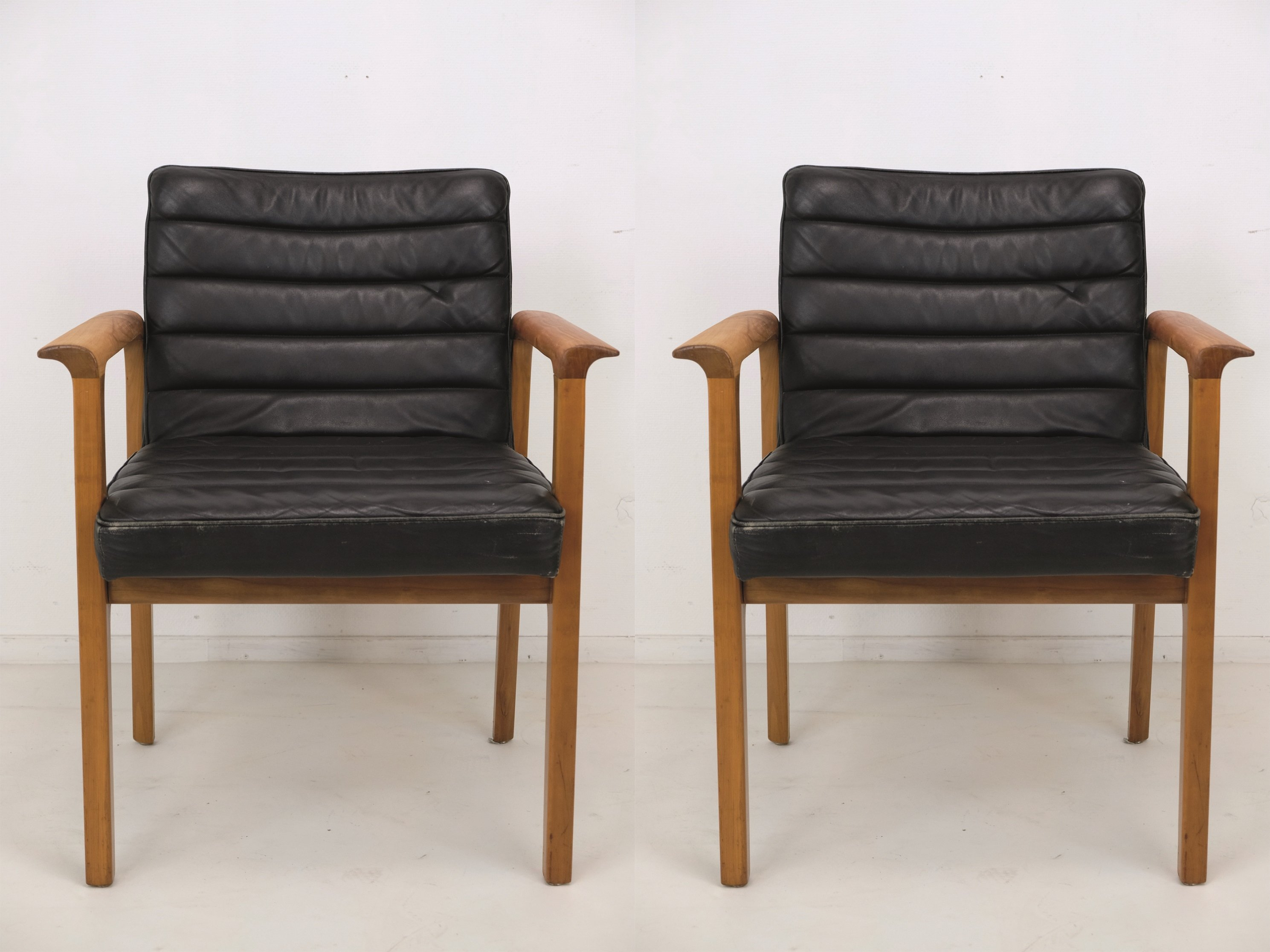 Wonderful Set Of Two Lübke Leather Armchairs, 1960s