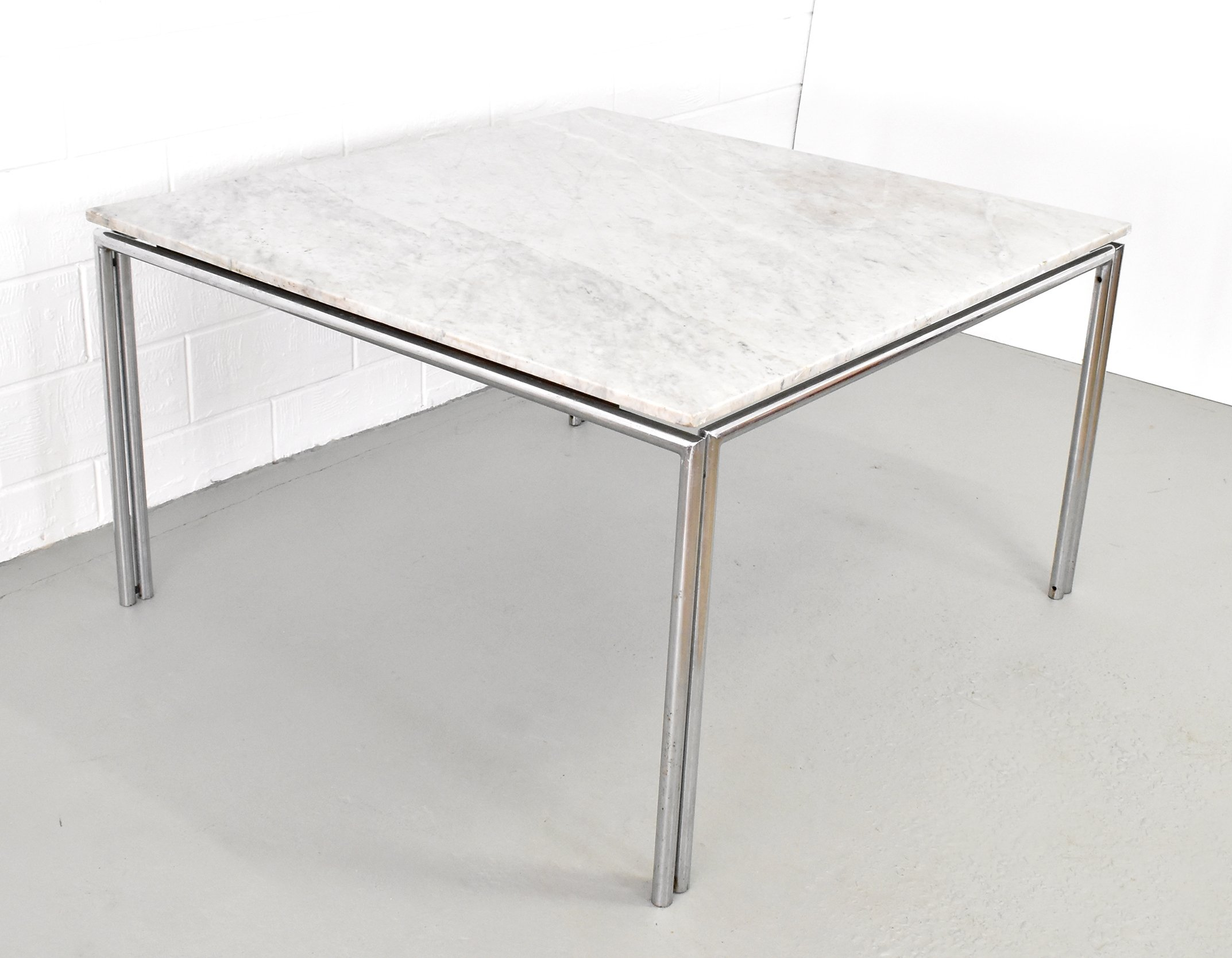 Xxl Square Marble Dining Table With Chrome Steel Base 76655
