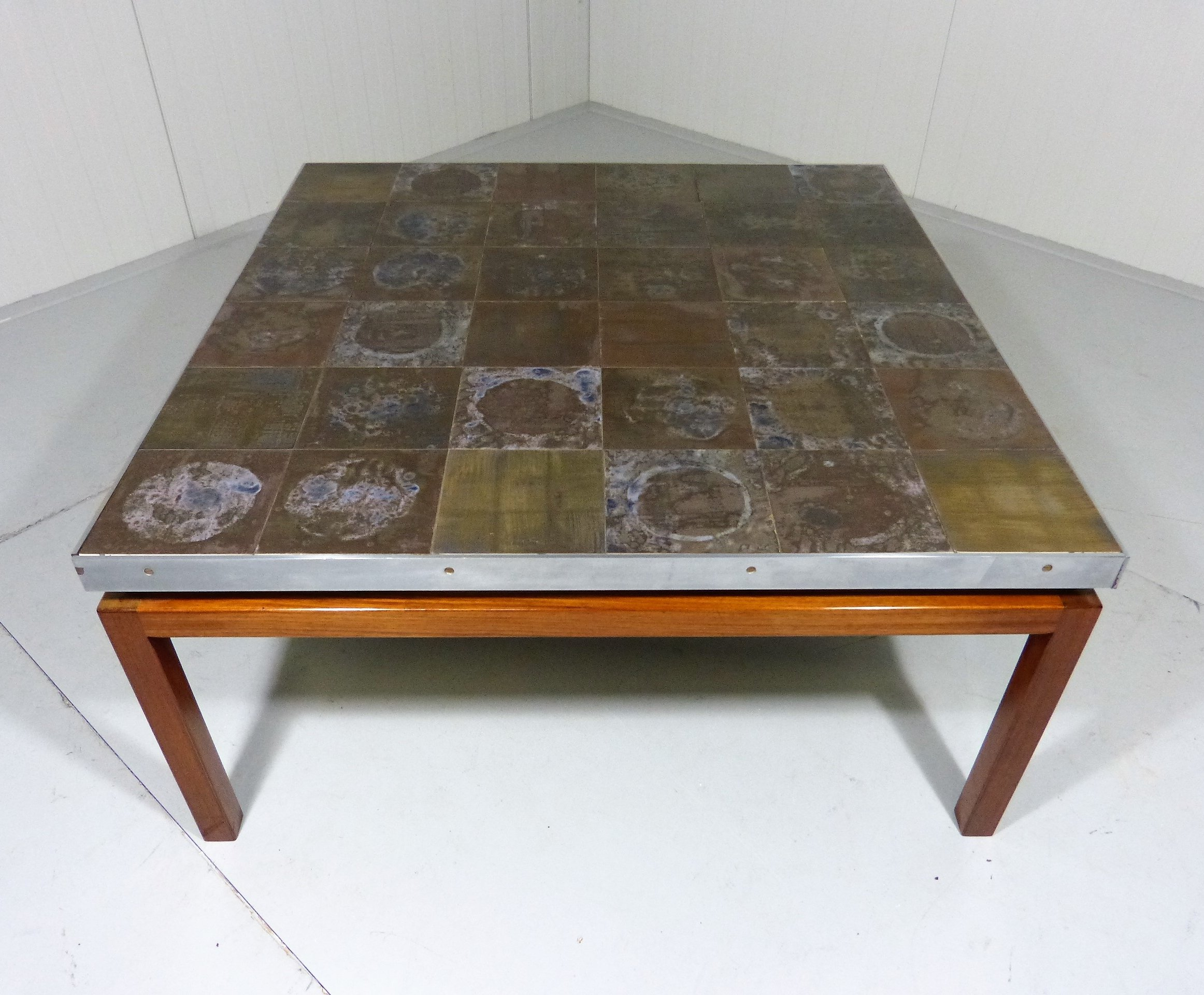 1960 S Big Square Coffee Table With Inlayed Pottery Tiles Top 76741