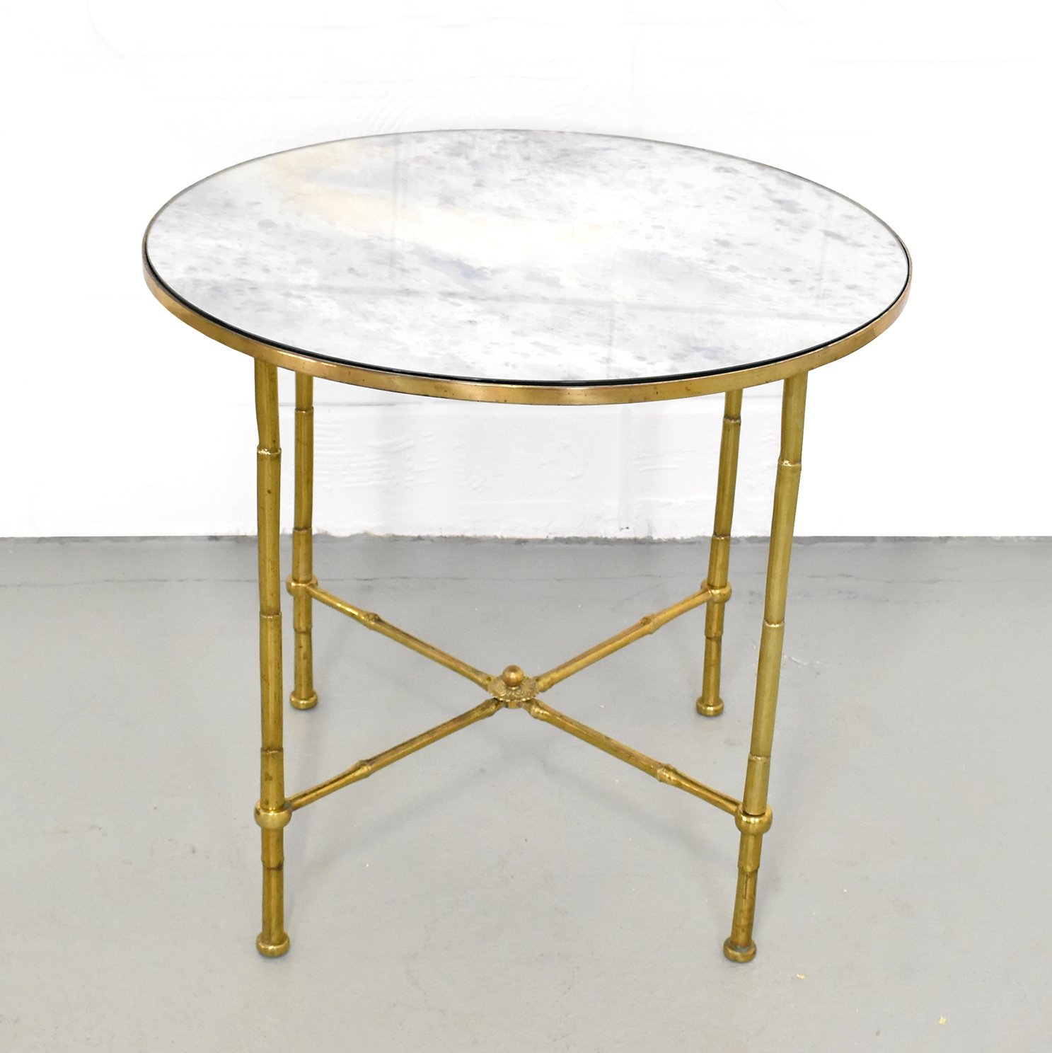 Picture of: Maison Jansen Distressed Mirror Faux Bamboo Brass Cocktail Table 76879