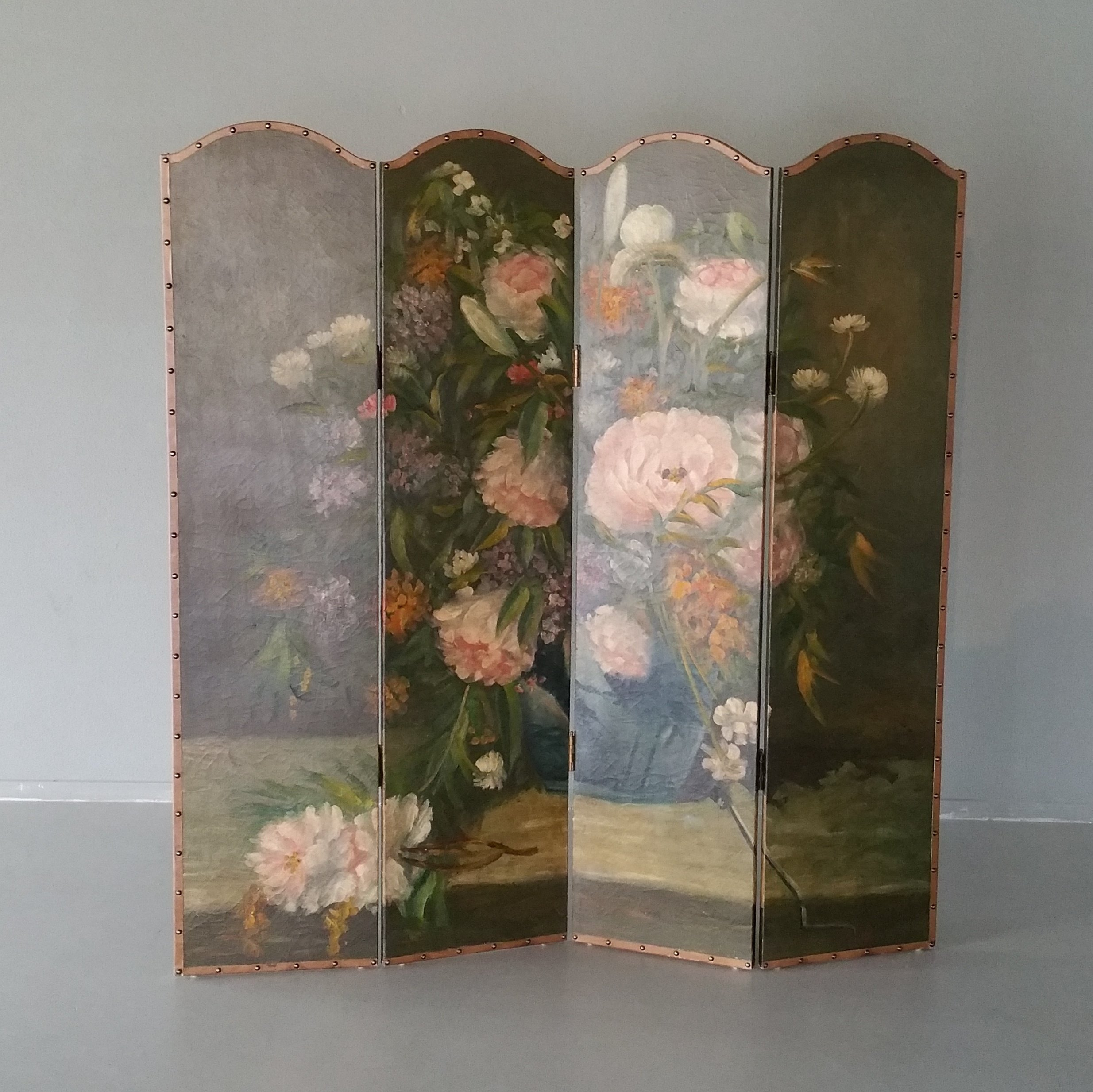 Vintage Four Panel Hand painted Screen Room Divider 1950s 76938