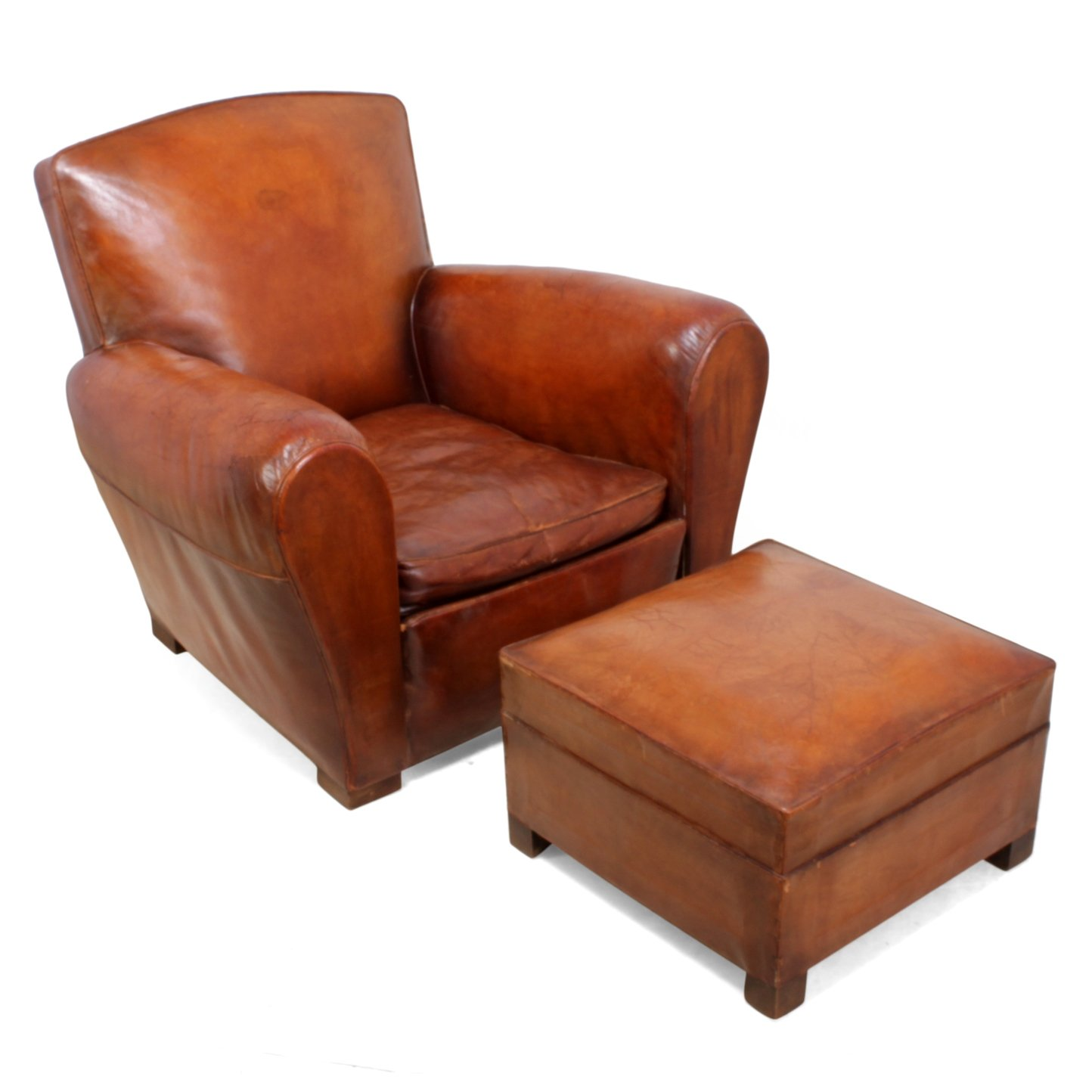 French Leather Club Chair U0026 Stool