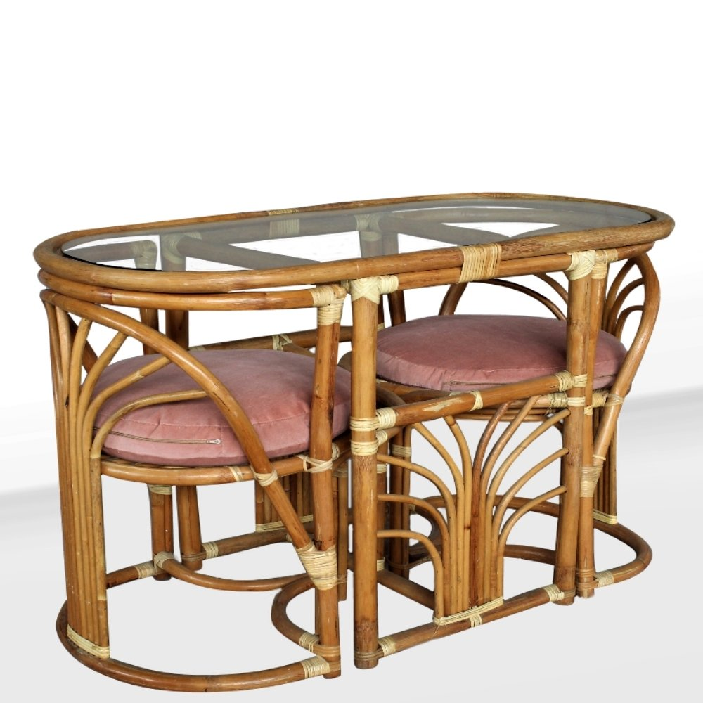 Sensational Italian Set In Rattan Composed By Two Chairs A Table With Beutiful Home Inspiration Aditmahrainfo