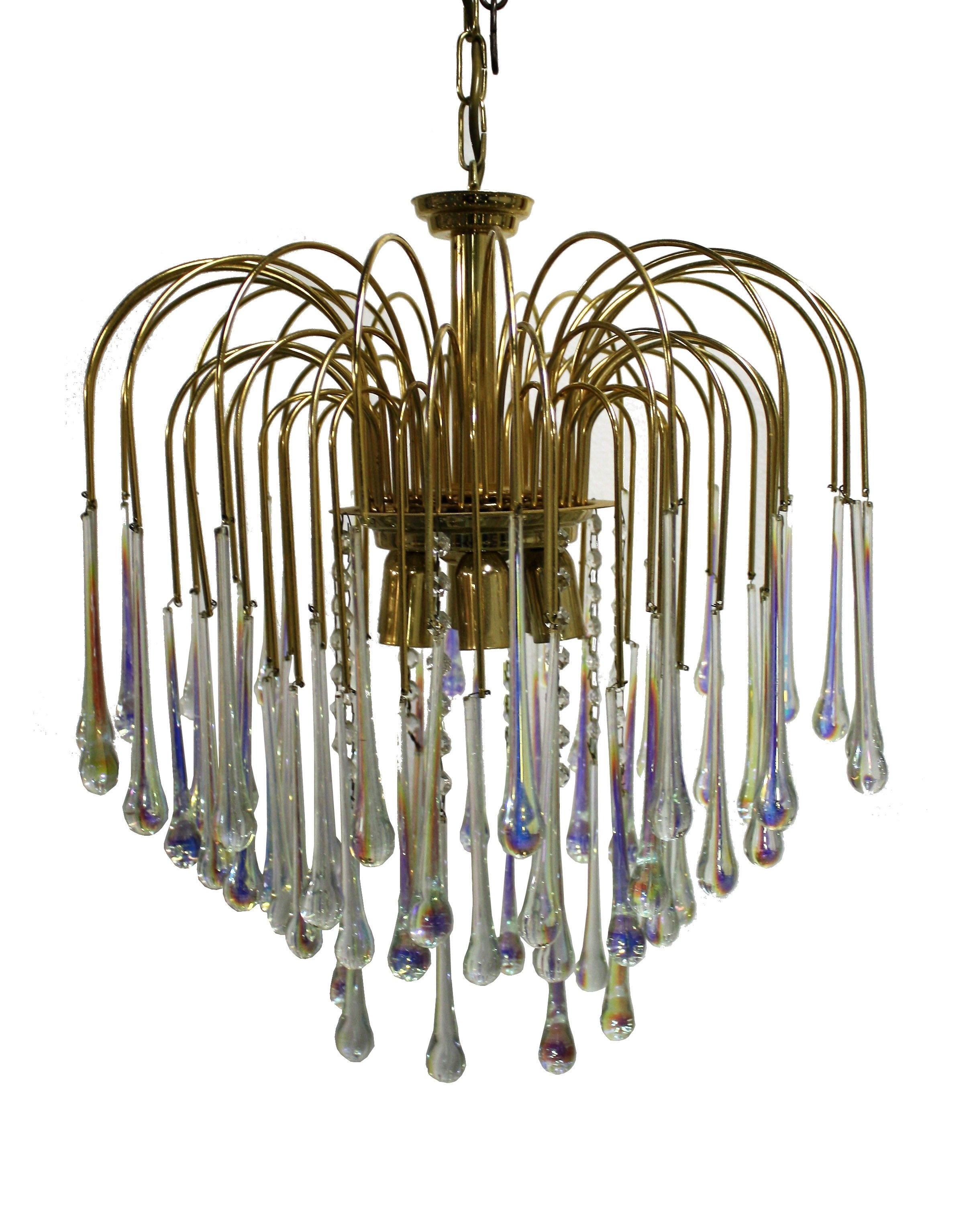 Vintage Brass Teardrop Chandelier With Crystal Murano Glass 1960