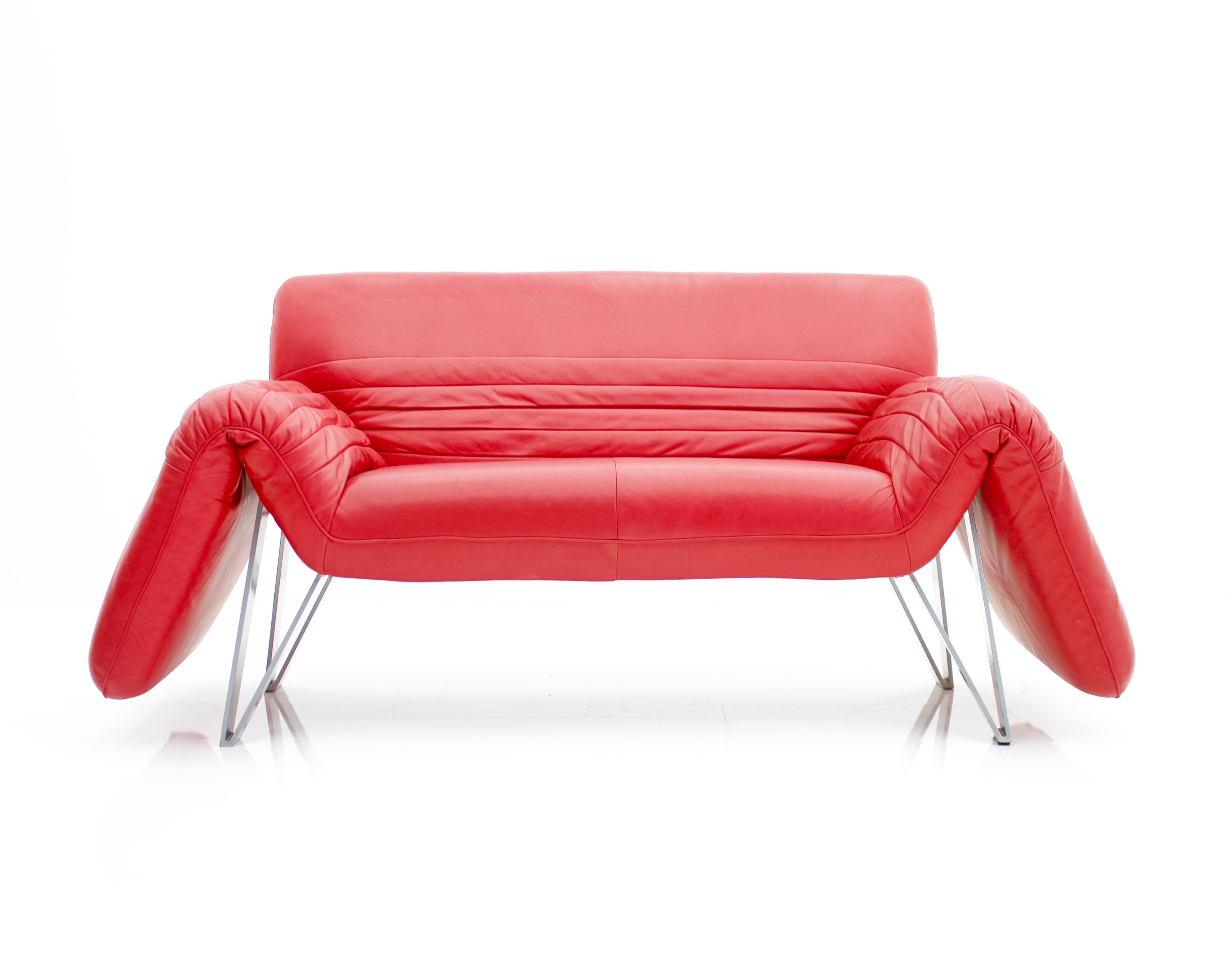 - Red Leather 'DS 142' Sofa By Wilfried Totzek For De Sede, Swiss