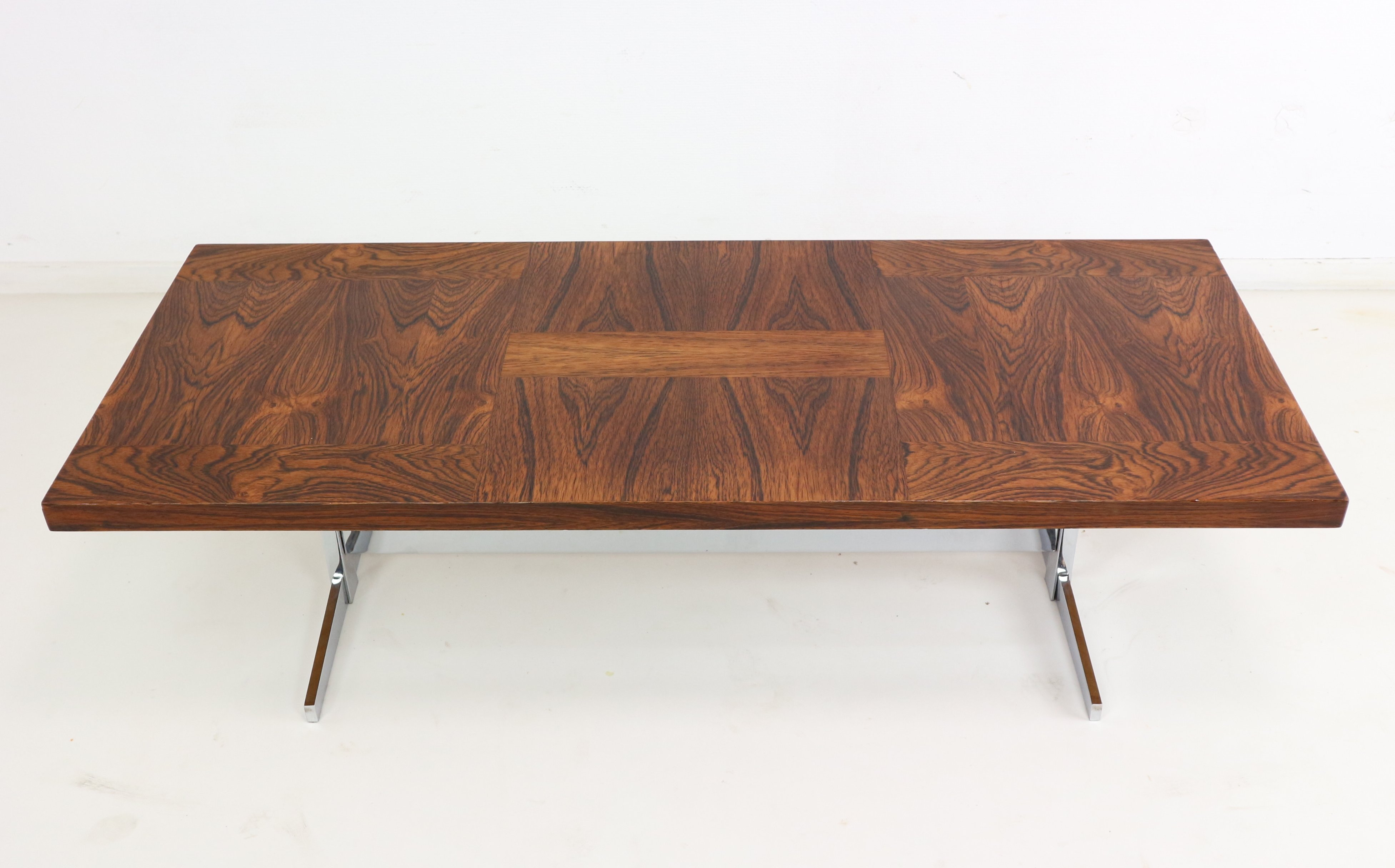 Mid Century Rosewood Coffee Table With Chrome Frame