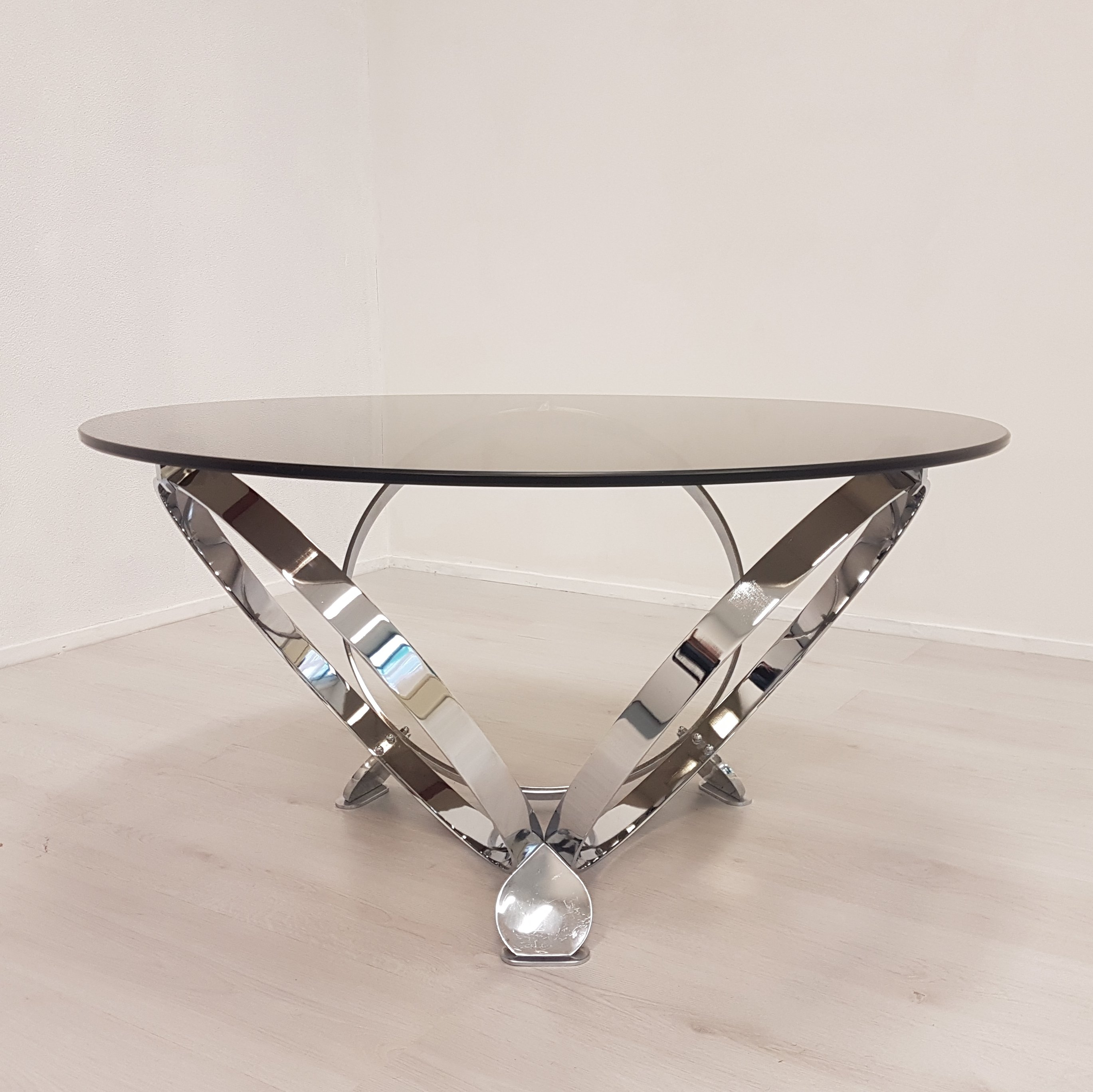 Coffee Table By Knut Hesterberg With Chrome Rings