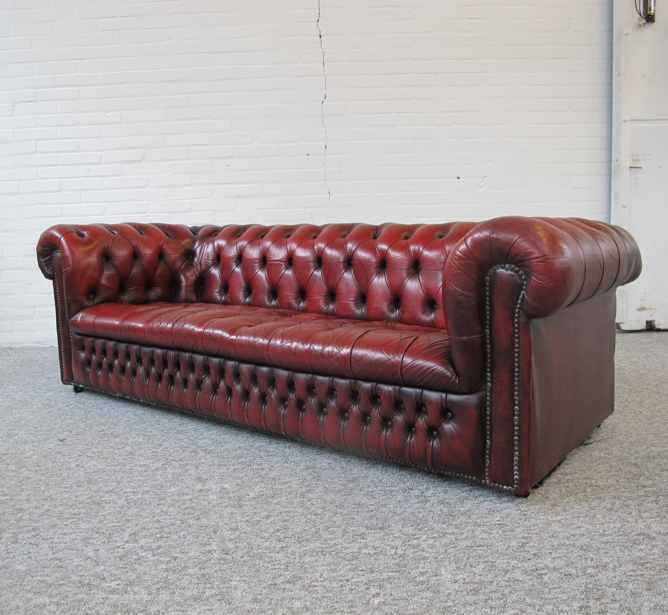 Beau Oxblood Red Chesterfield Sofa