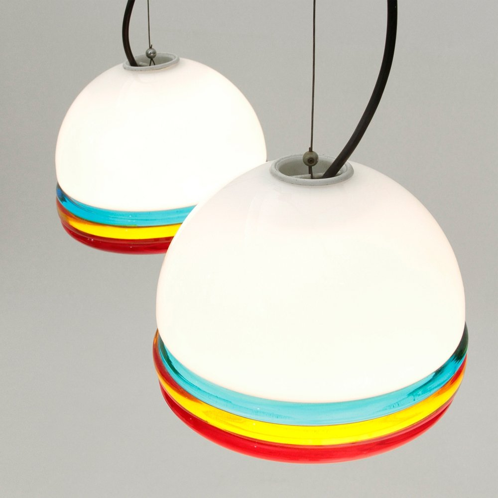 Set of 2 murano colored glass pendant lamps 1960s 78735 set of 2 murano colored glass pendant lamps 1960s aloadofball Gallery