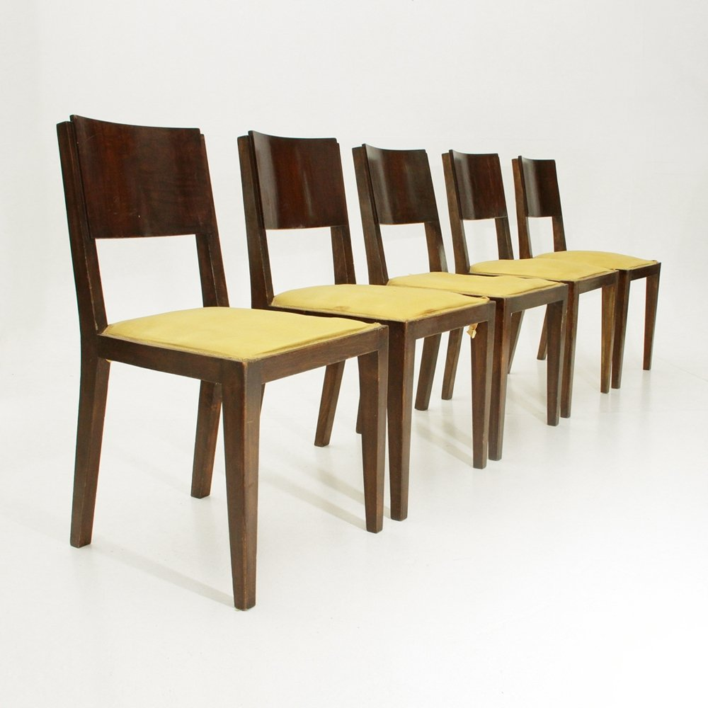 Relatively Set of 5 Italian wooden Art Deco Dining Chairs, 1940s | #78880 SG63