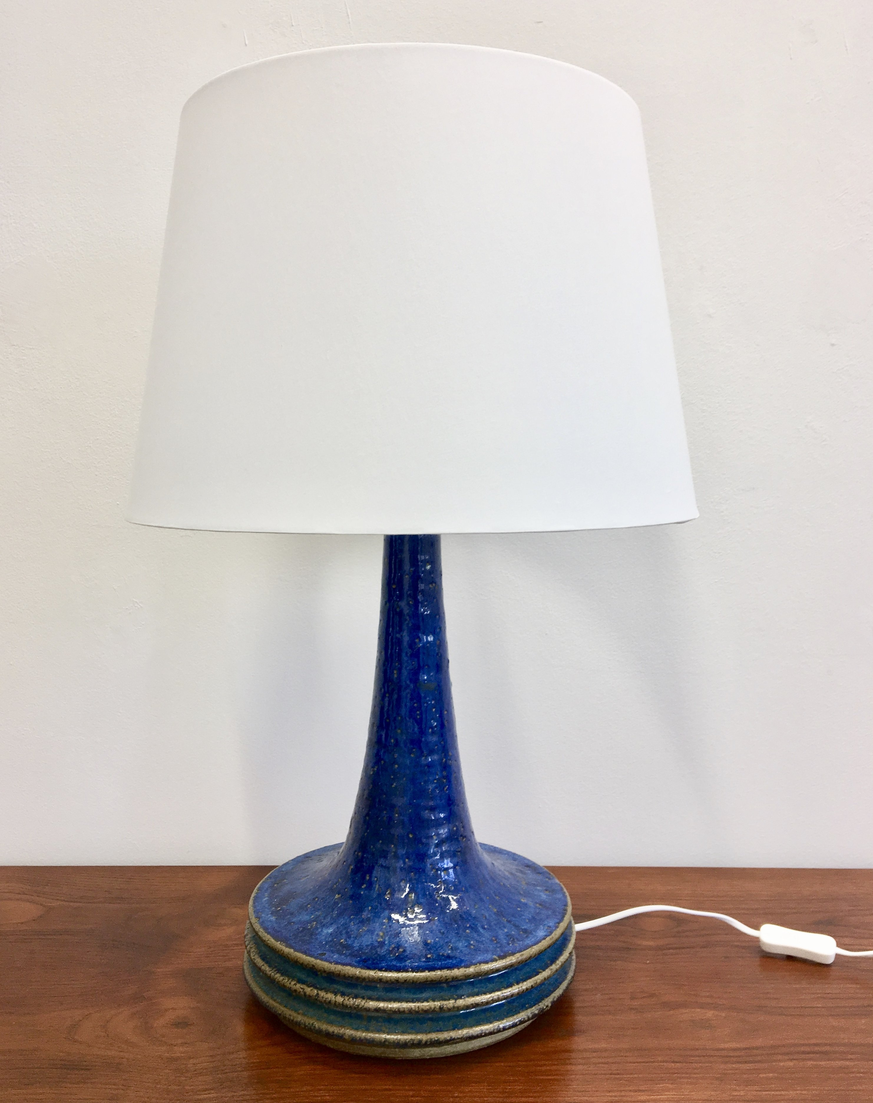 Image of: Tall Danish Blue Mid Century Modern Ceramic Table Lamp By Axella For Tromborg 78945