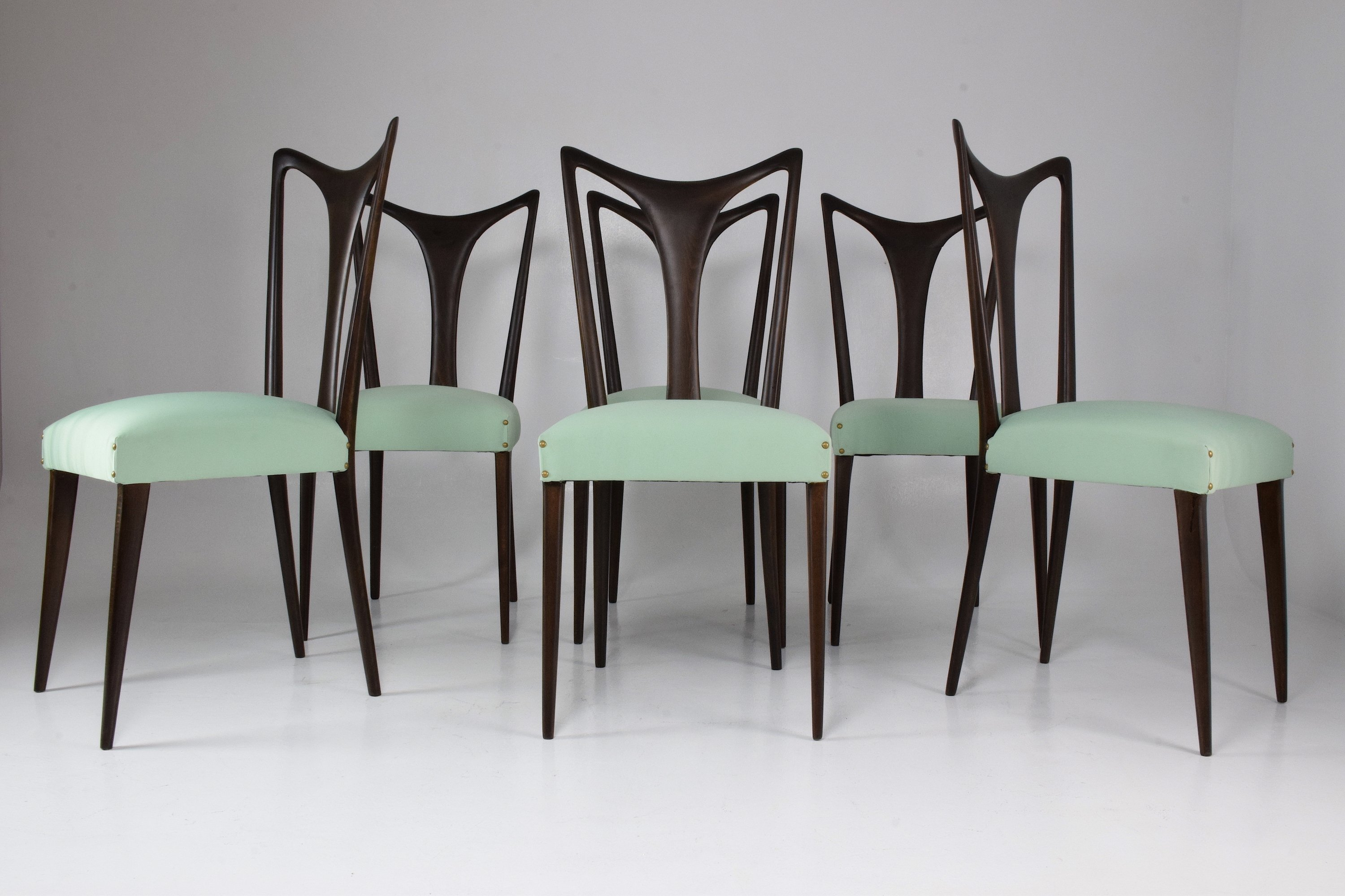 Set of 6 italian vintage dining chairs by guglielmo ulrich 1940s