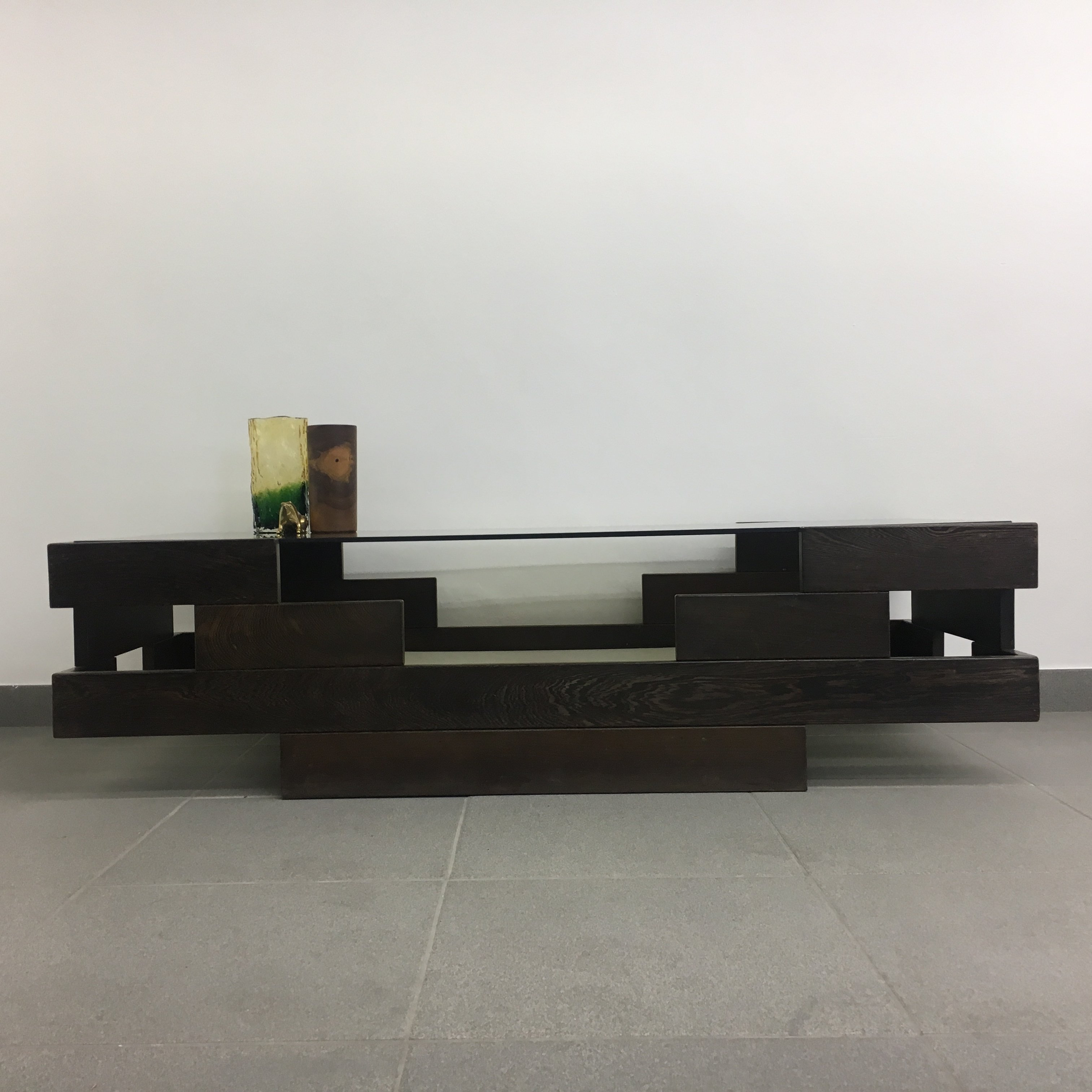 Floating Square Coffee Table In Green And Black Slatelike: Brutalist Wenge Coffee Table, 1970's