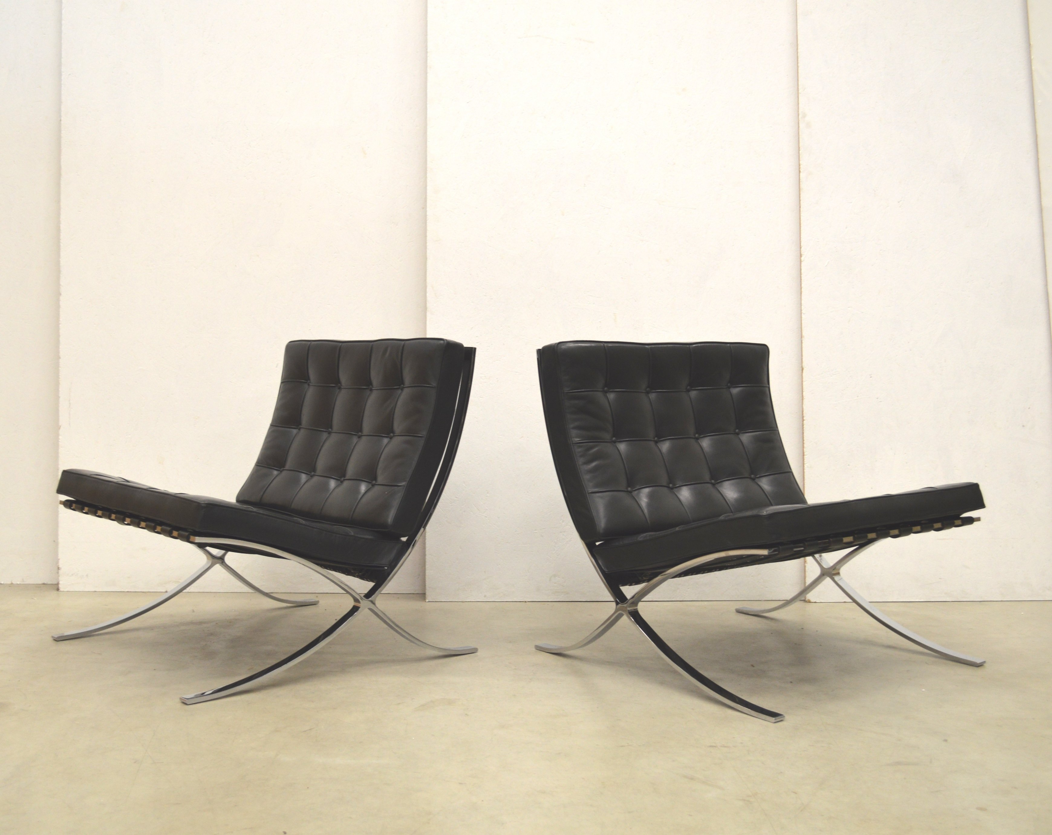 Pair Of Barcelona Lounge Chairs By Ludwig Mies Van Der Rohe For Knoll  International, 1980s