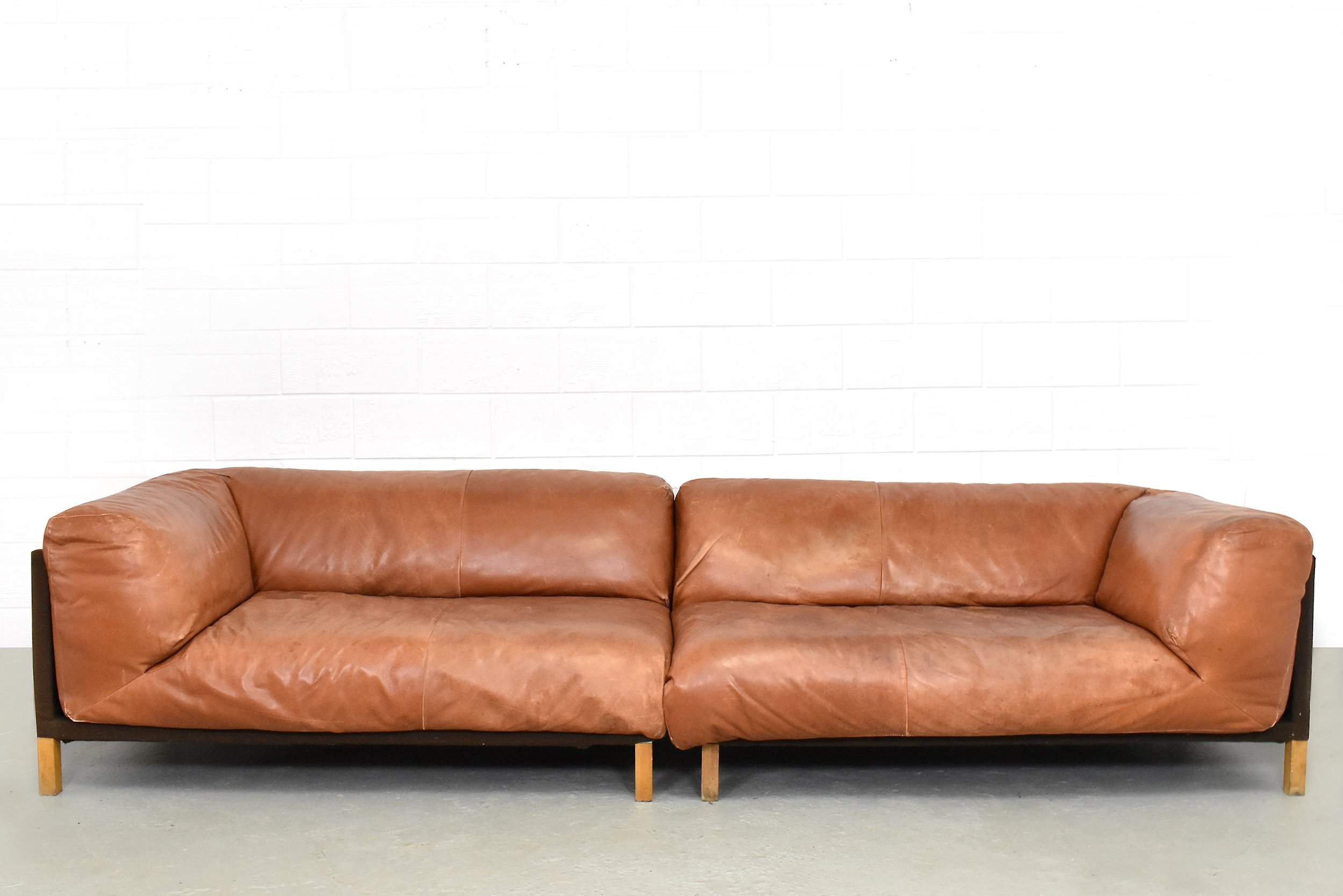 XXL Cognac Leather Sofa By Gerard Van Den Berg For Montis 1980s