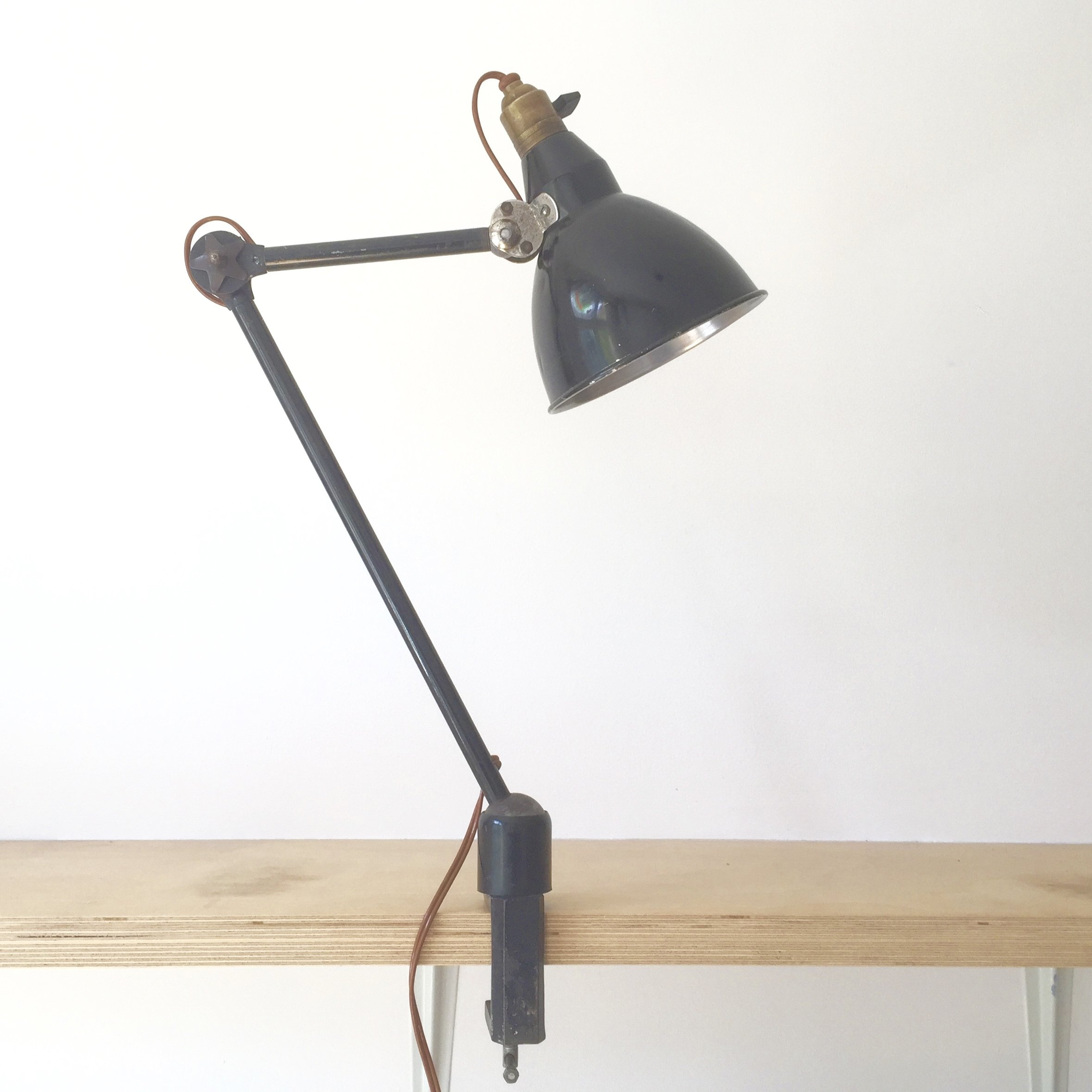 1930s French 2 Arm Bench Desk Clamp Lamp By Mazda