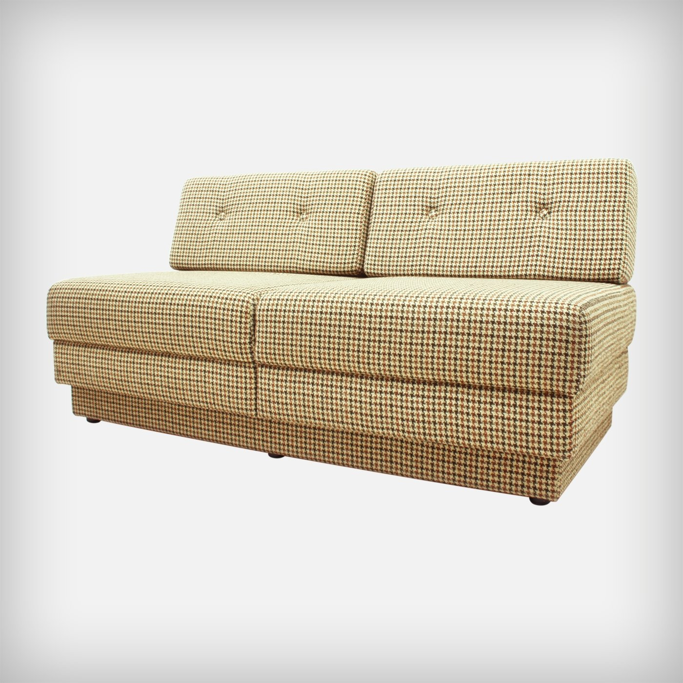 German Extendible Checked Wool Fabric Sofa Daybed With Integrated Table 1970s