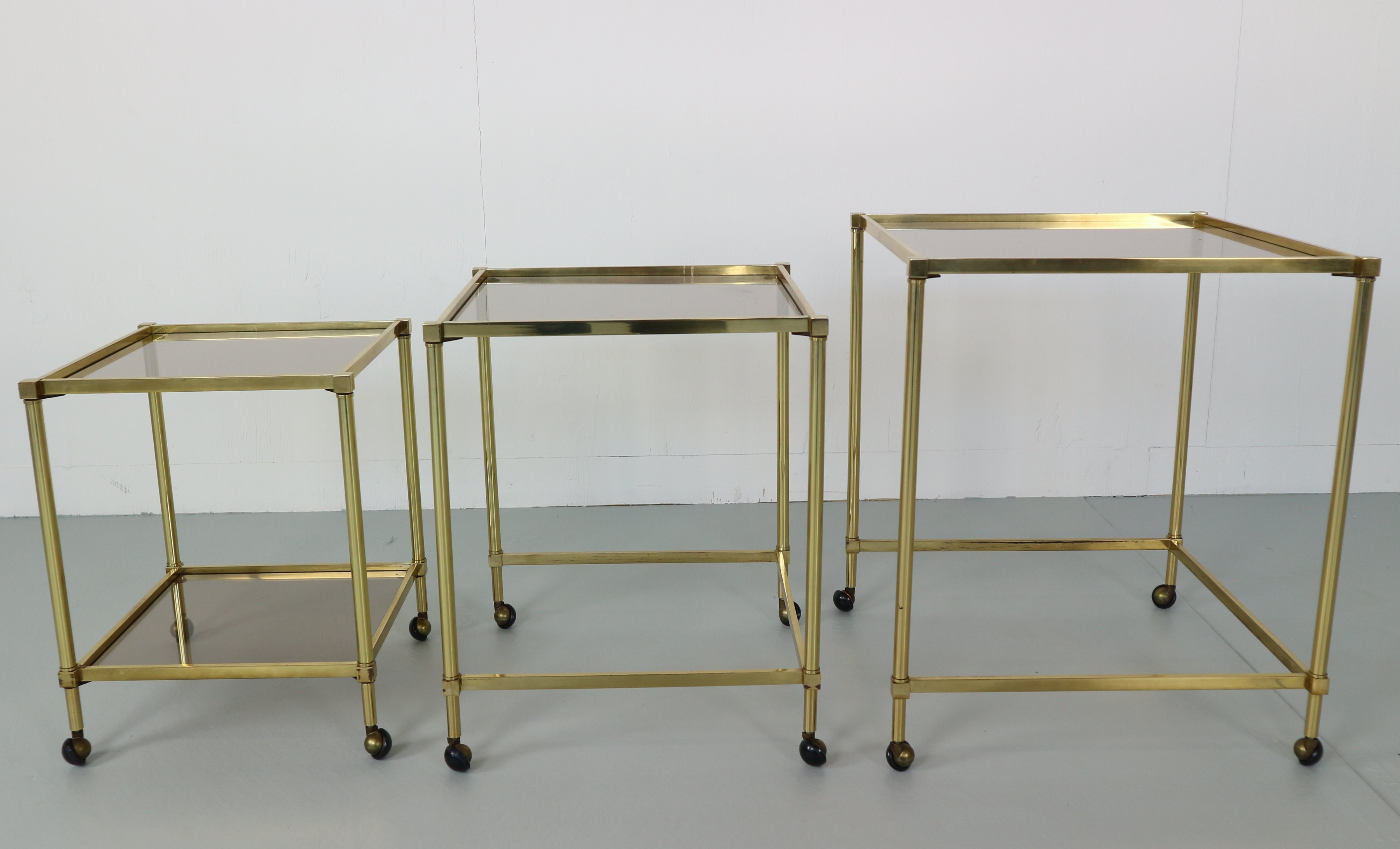 0c0ee4f2b8079 Set of 3 Midcentury French Brass Nesting Tables with Glass Top