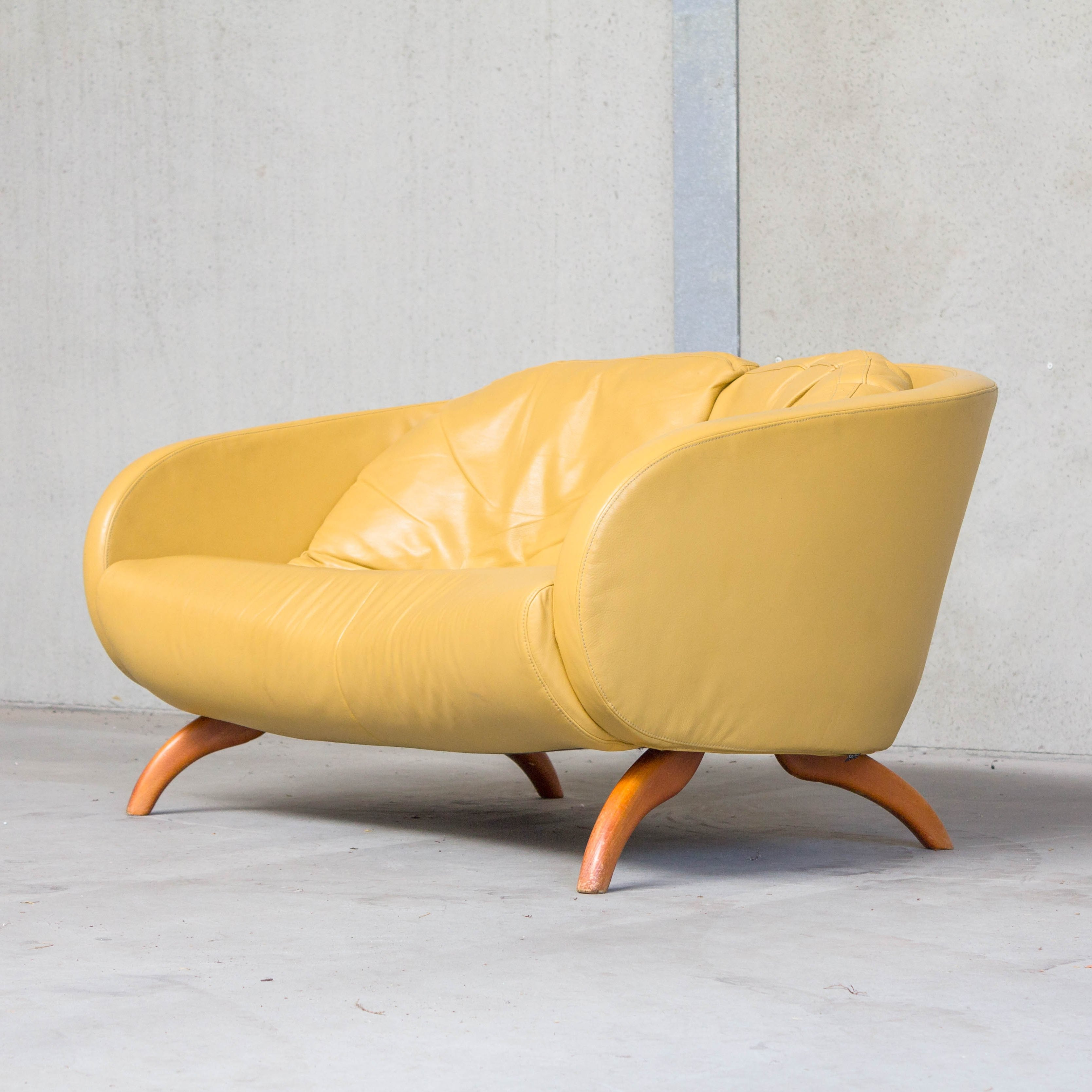 - Yellow Leather Sofa By Sitting Vision, The Netherlands #80819
