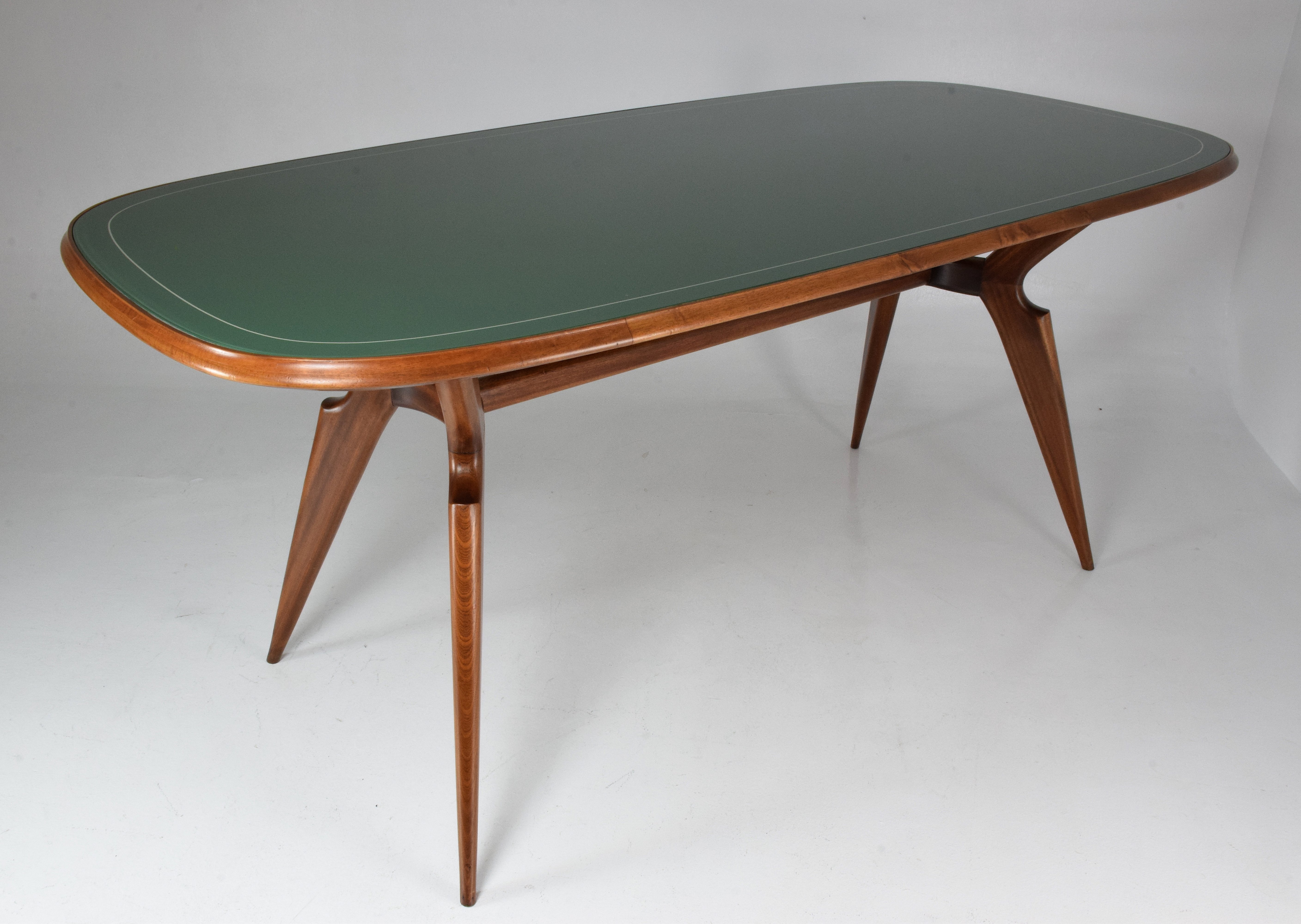 Italian Mid Century Dining Table With Green Glass Tabletop