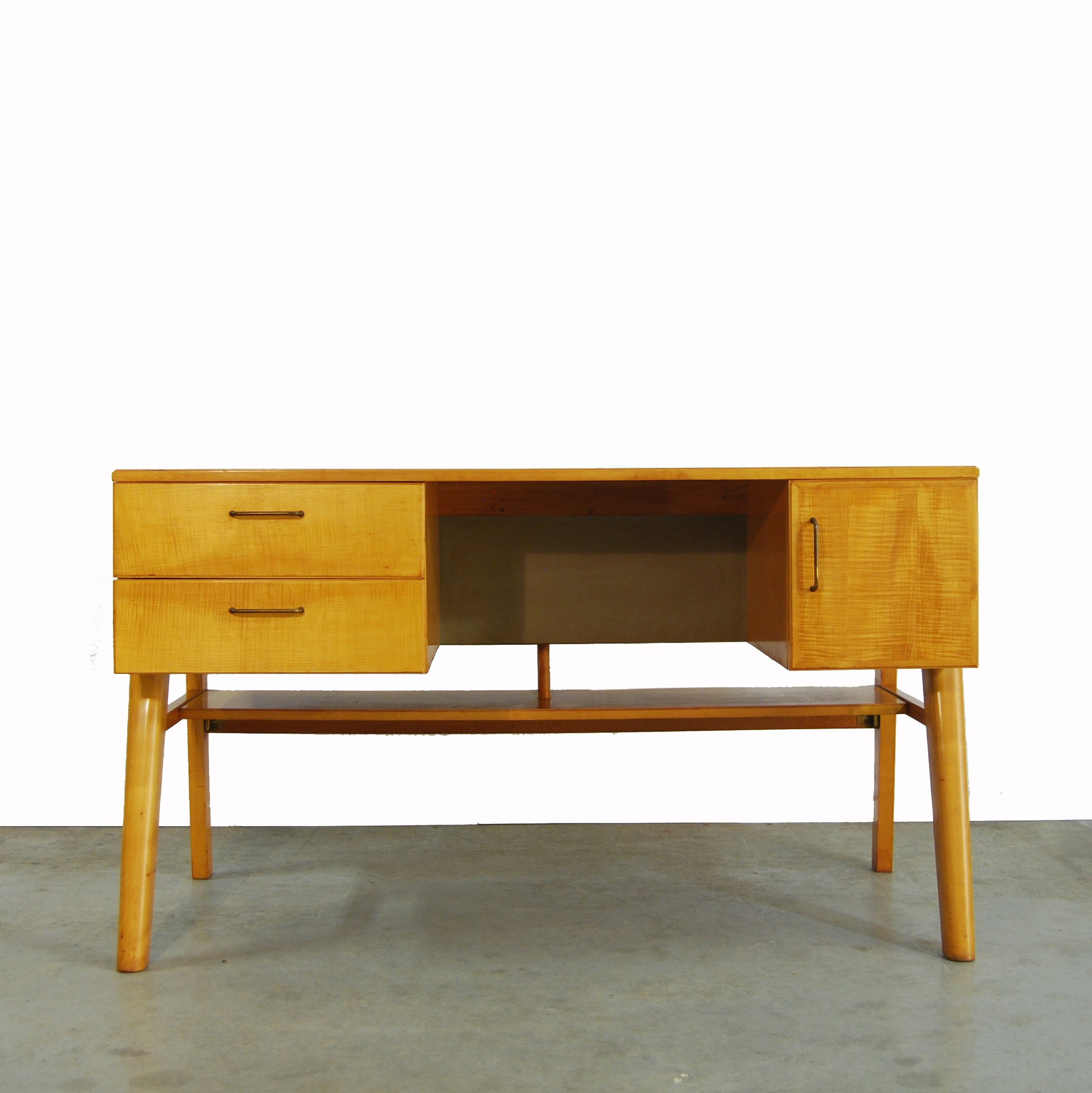 Mid century birch wooden writing desk 1960s
