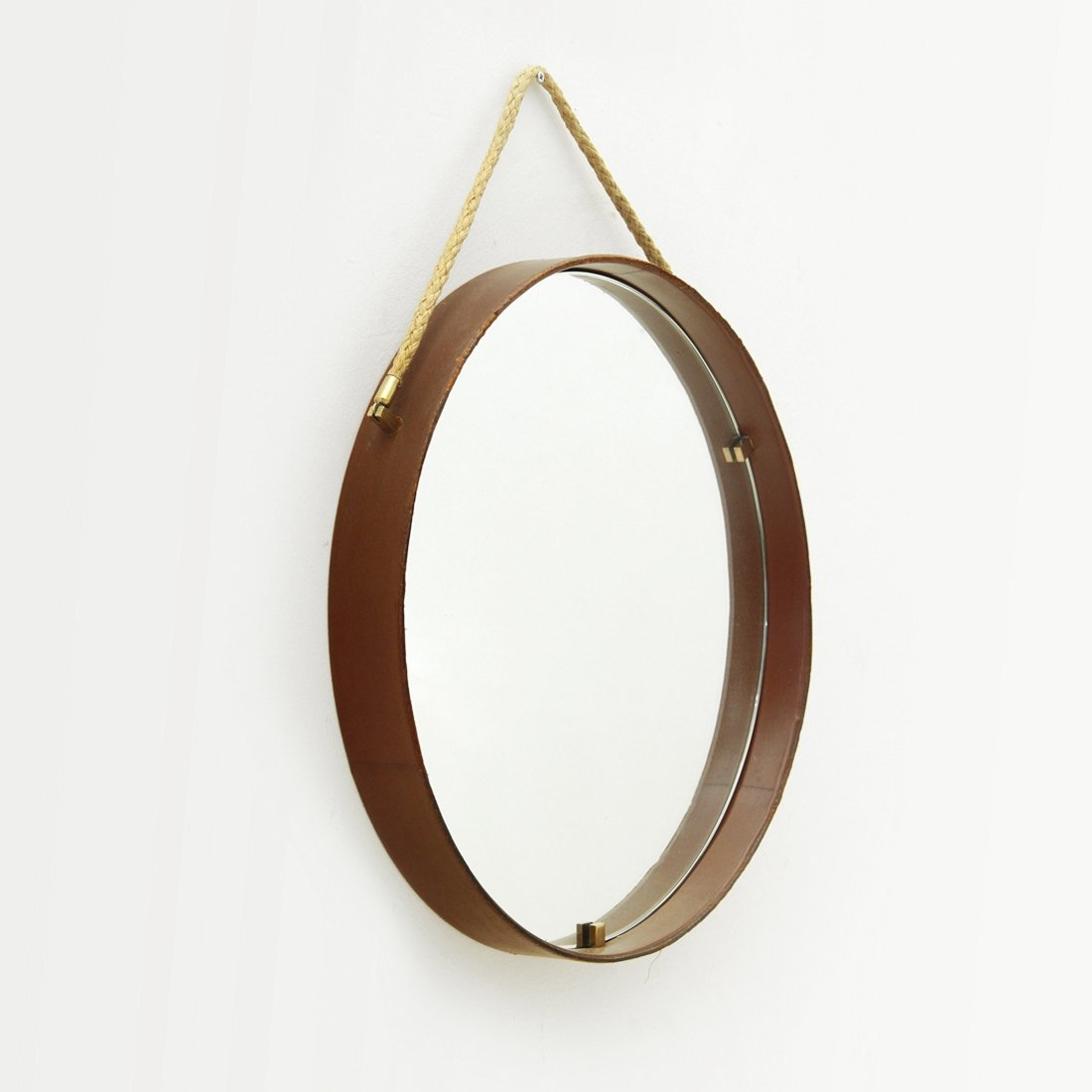 Leather Brass Round Mirror By Pizzetti 1950s