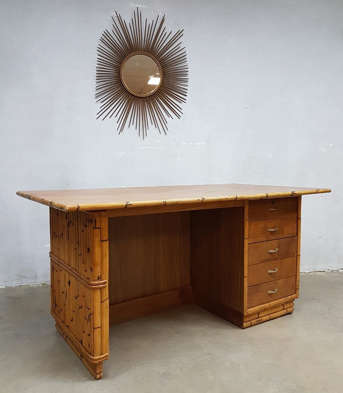 Tiki Style Bamboo Office Desk, 1960s