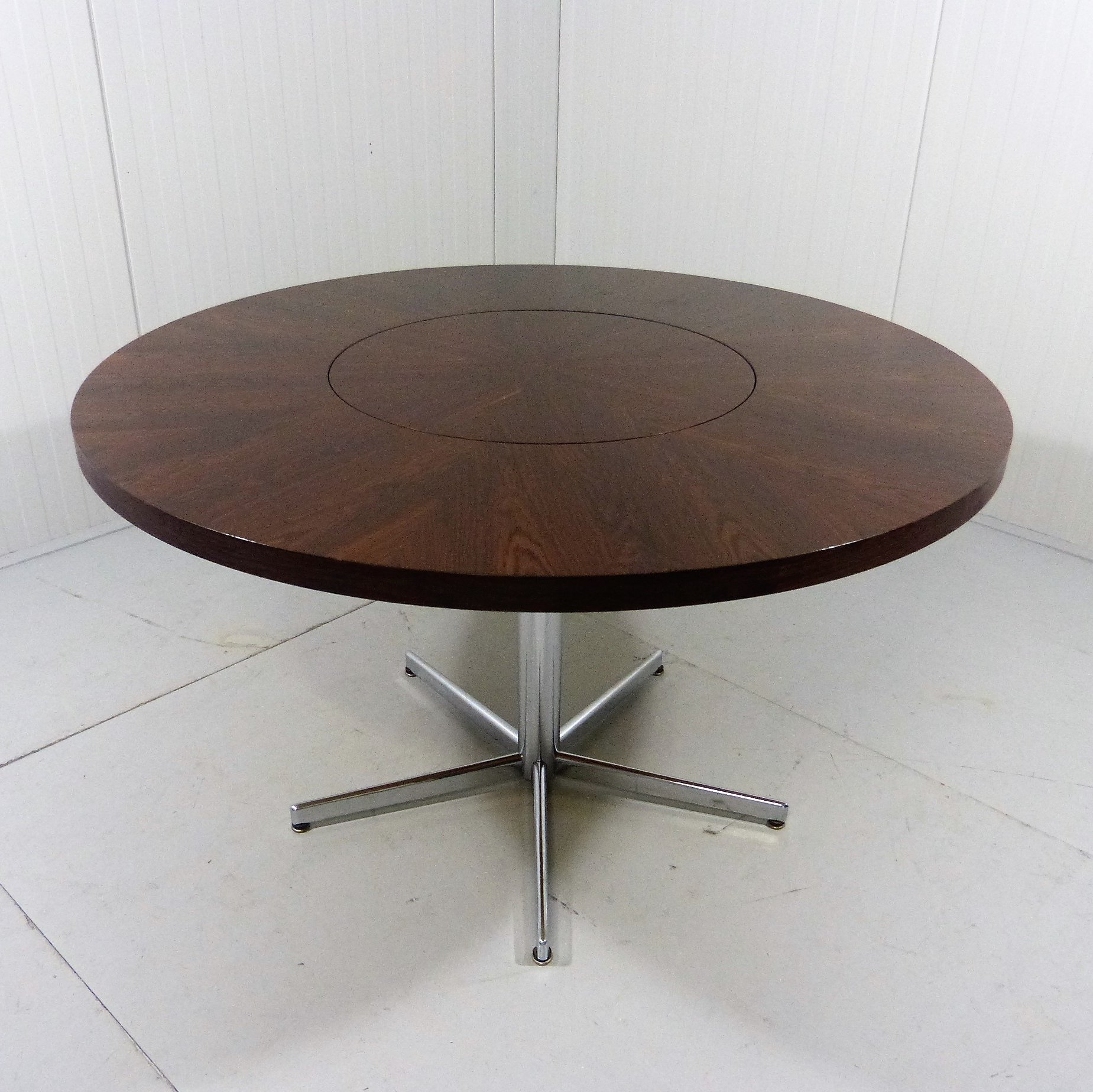 Round Rosewood Dining Table By Em Germany With Revolving Center,