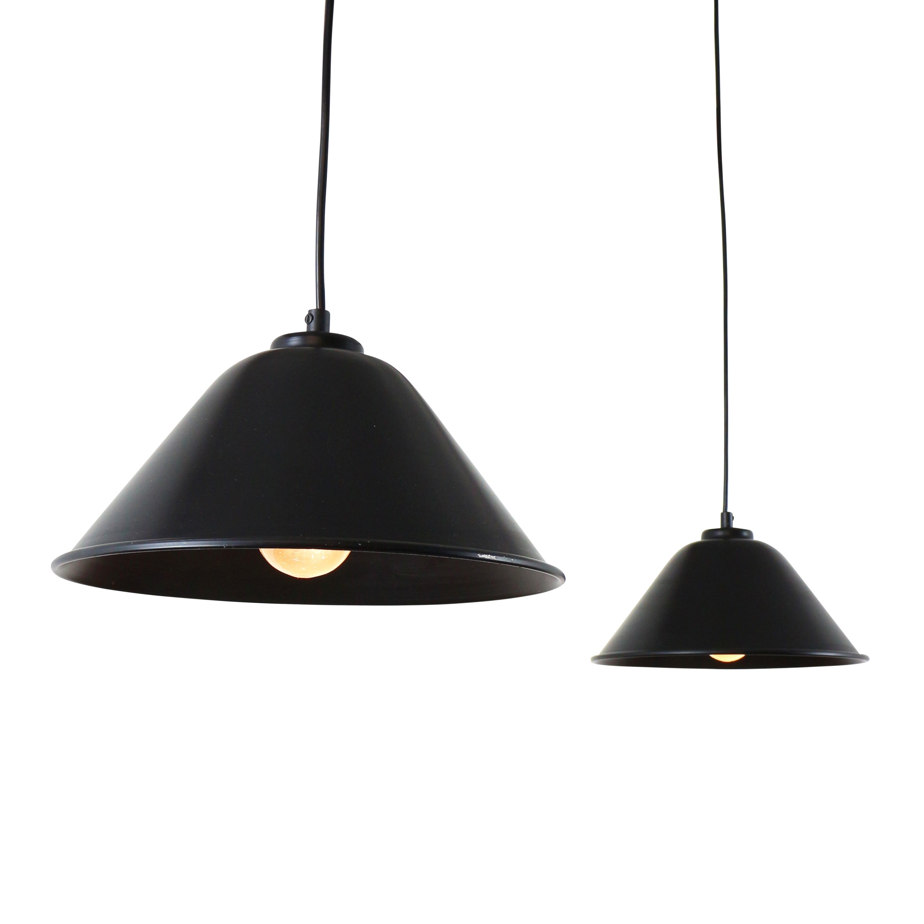 Pair Of Black Metal Pendant Lights With White Inner Reflector,