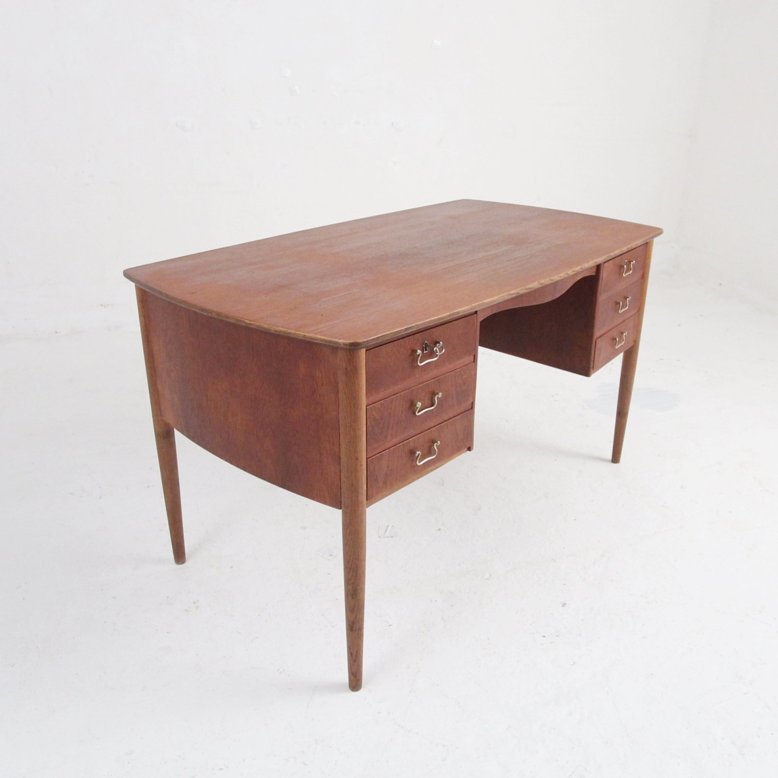 Mid Century Danish Teak Desk With Drawers & An Integrated Book Shelf