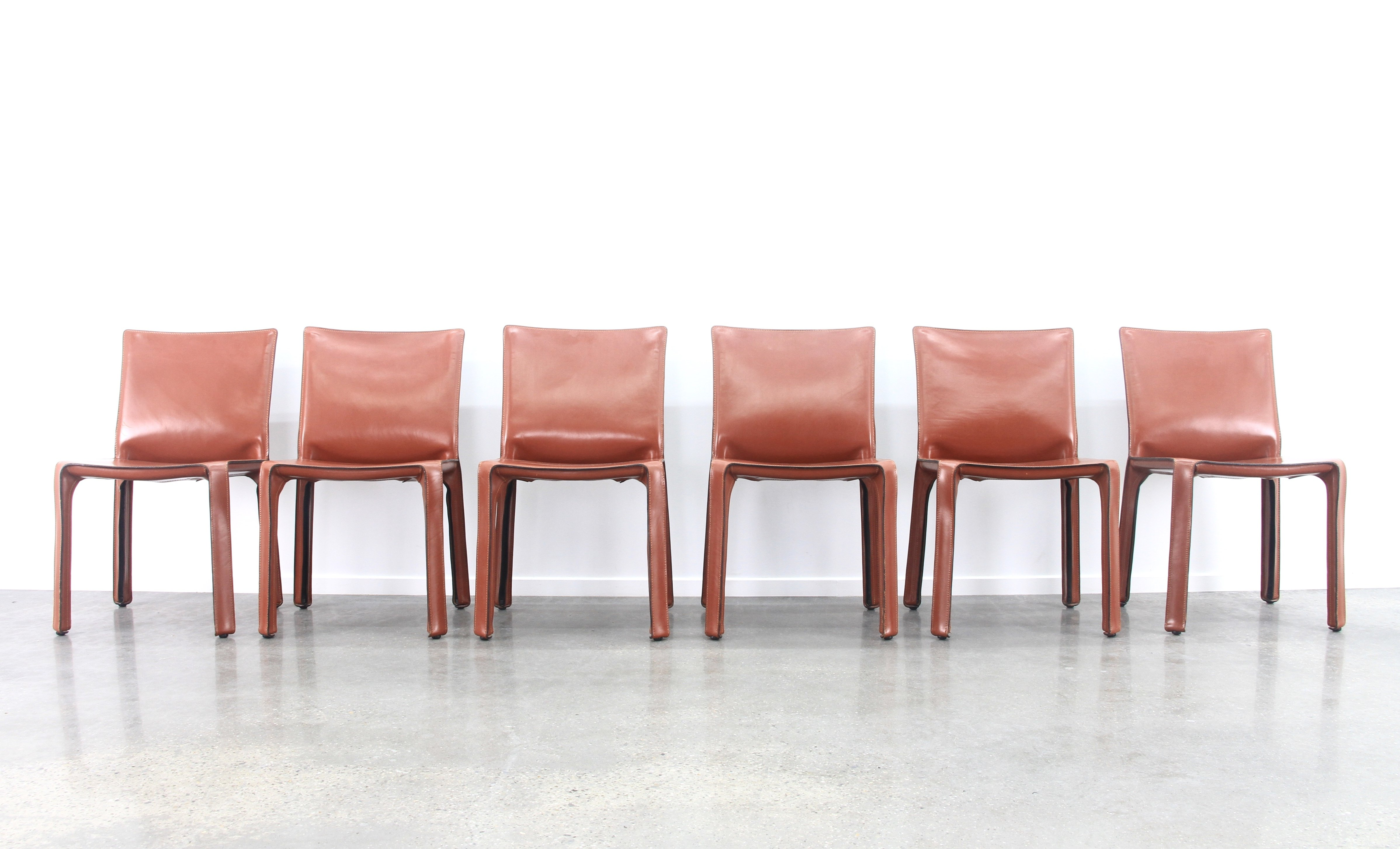 Cool Set Of 6 Tan Congac Leather Cab Chairs By Mario Bellini Ocoug Best Dining Table And Chair Ideas Images Ocougorg