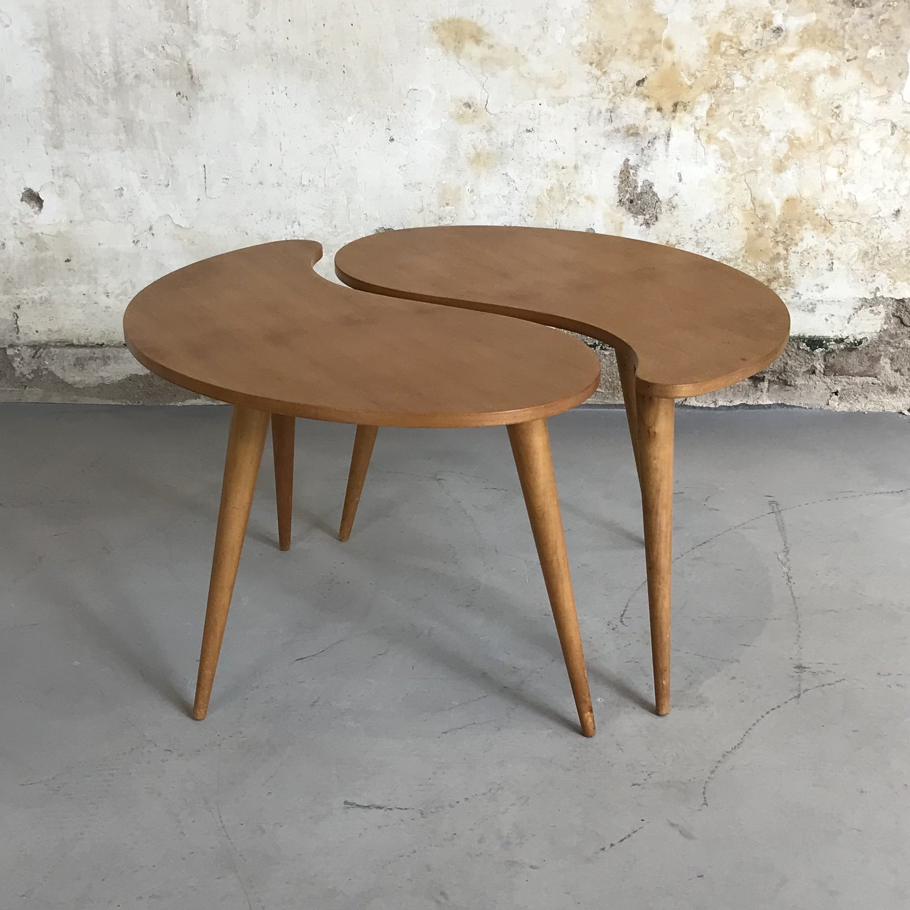Dutch Kidney Shaped Coffee Table Side Set From