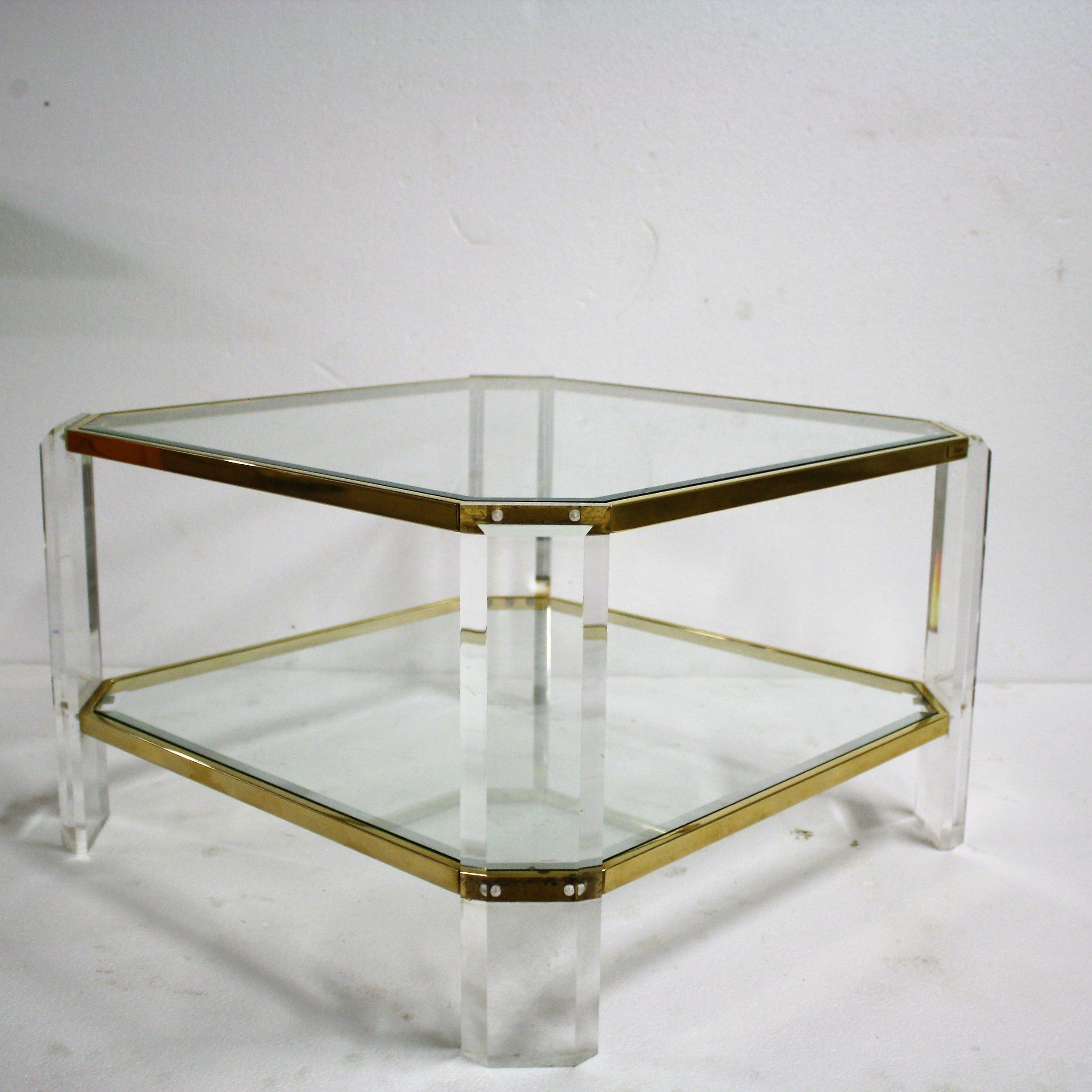 Lucite Coffee Table.Brass Lucite Coffee Table By Fedam 1970s