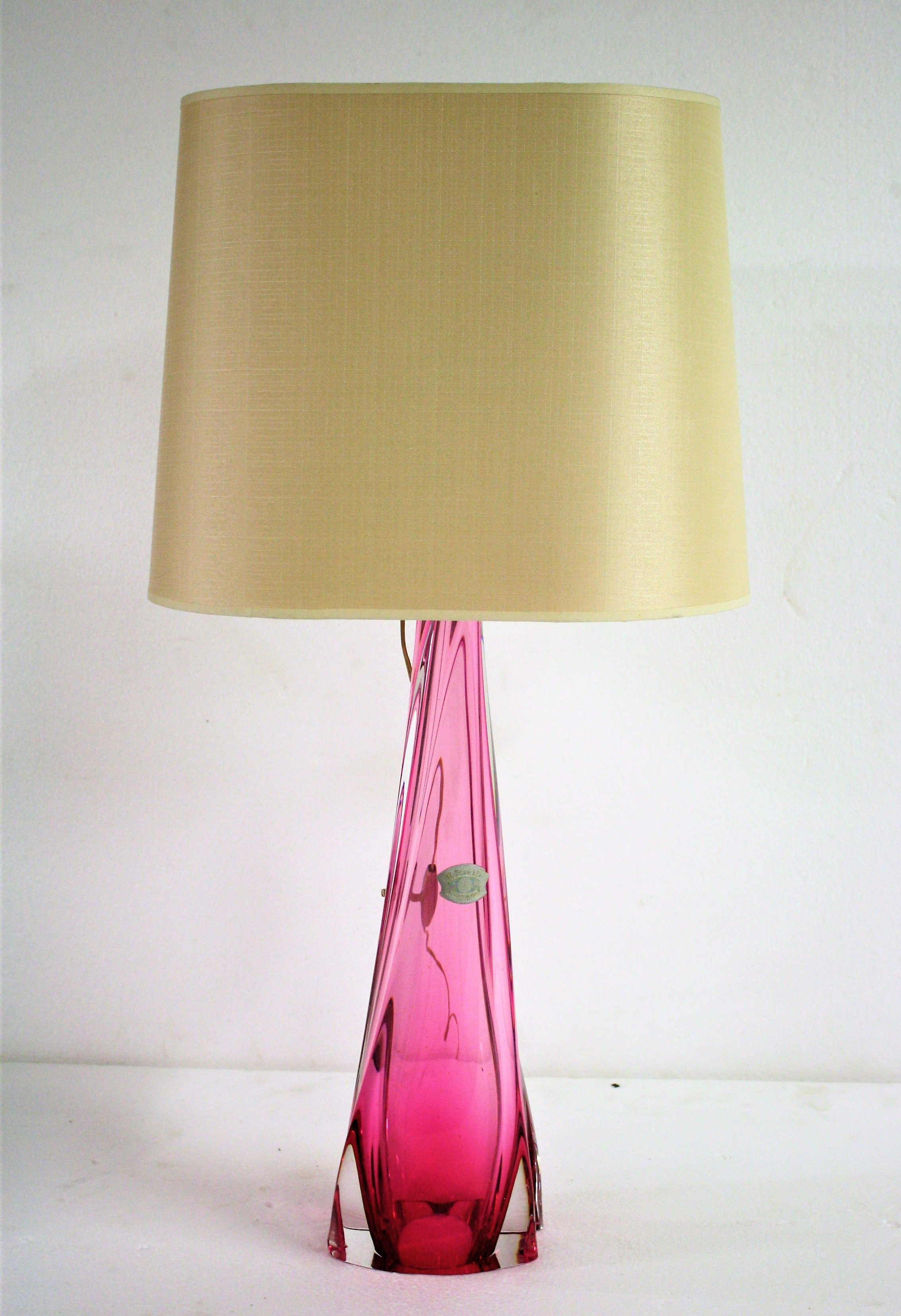 Rare Large Val St Lambert Pink Crystal Table Lamp 1960 S Belgium