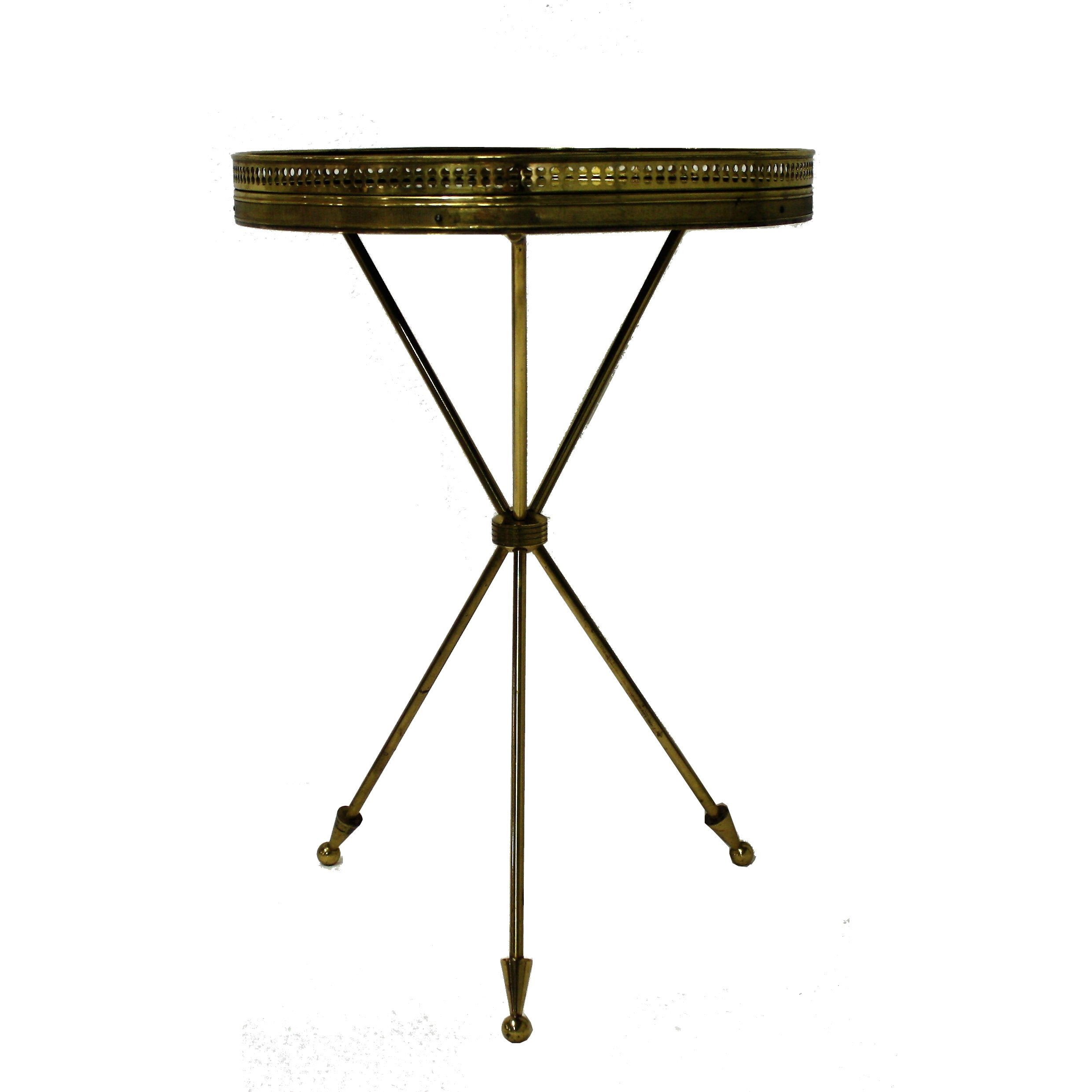 Superbe Vintage Italian Side Table Made From Brass U0026 Wood, 1950s