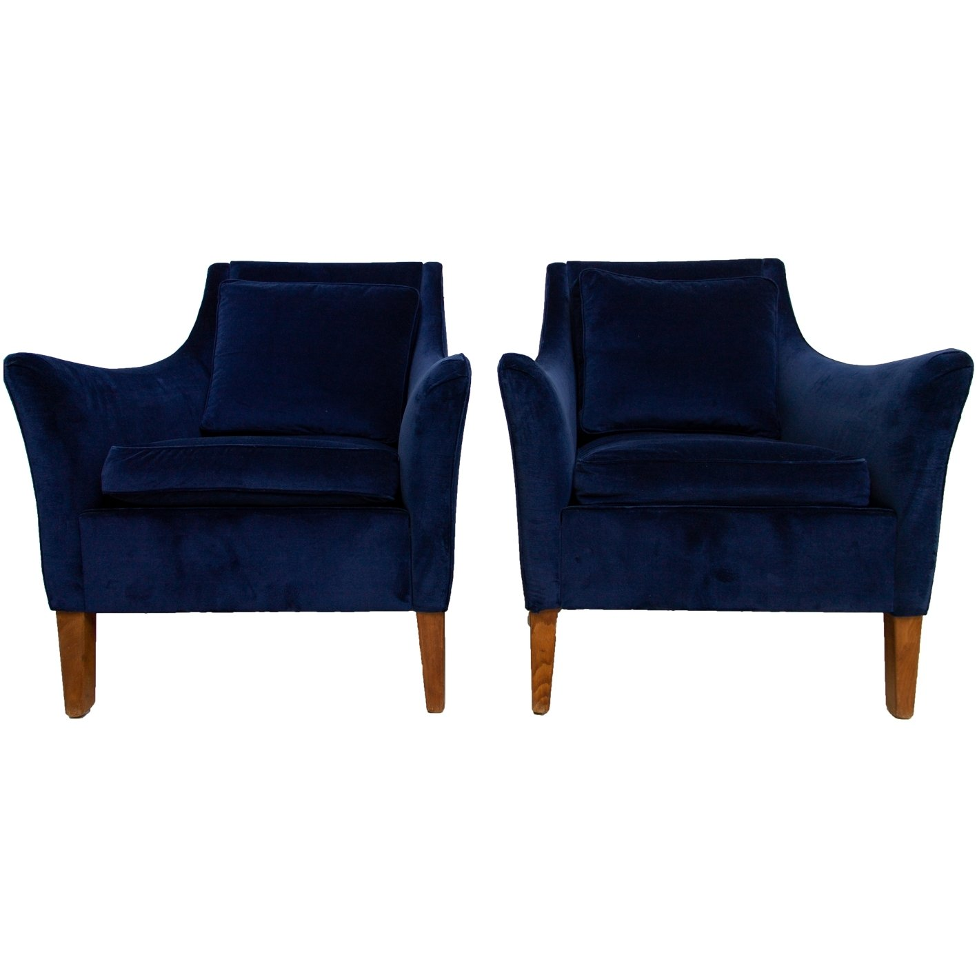 Pair Of U0027Giorgettiu0027 Club Chairs With Royal Blue Velvet