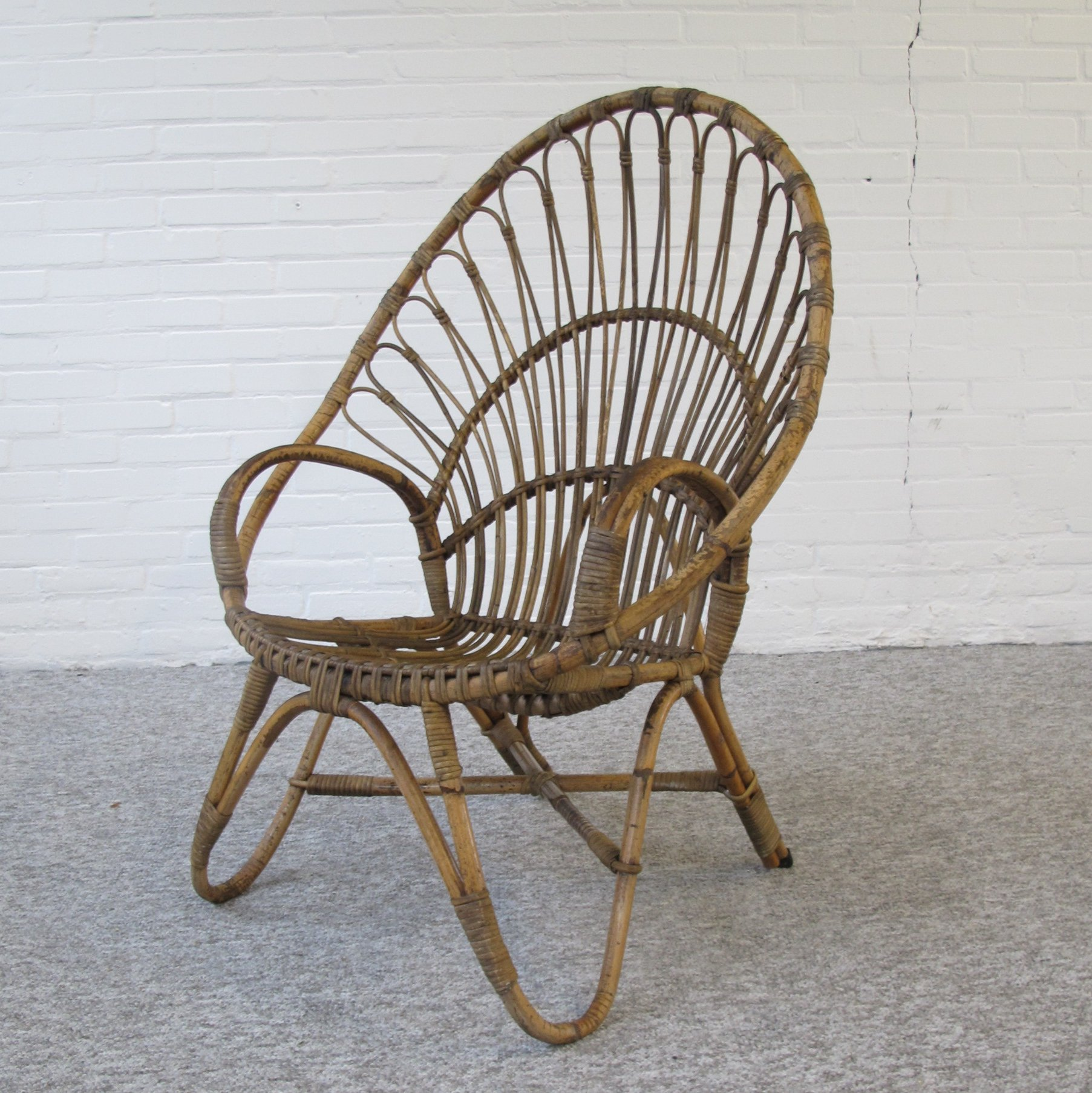 Italian High Back Vintage Rattan Chair, 1960s
