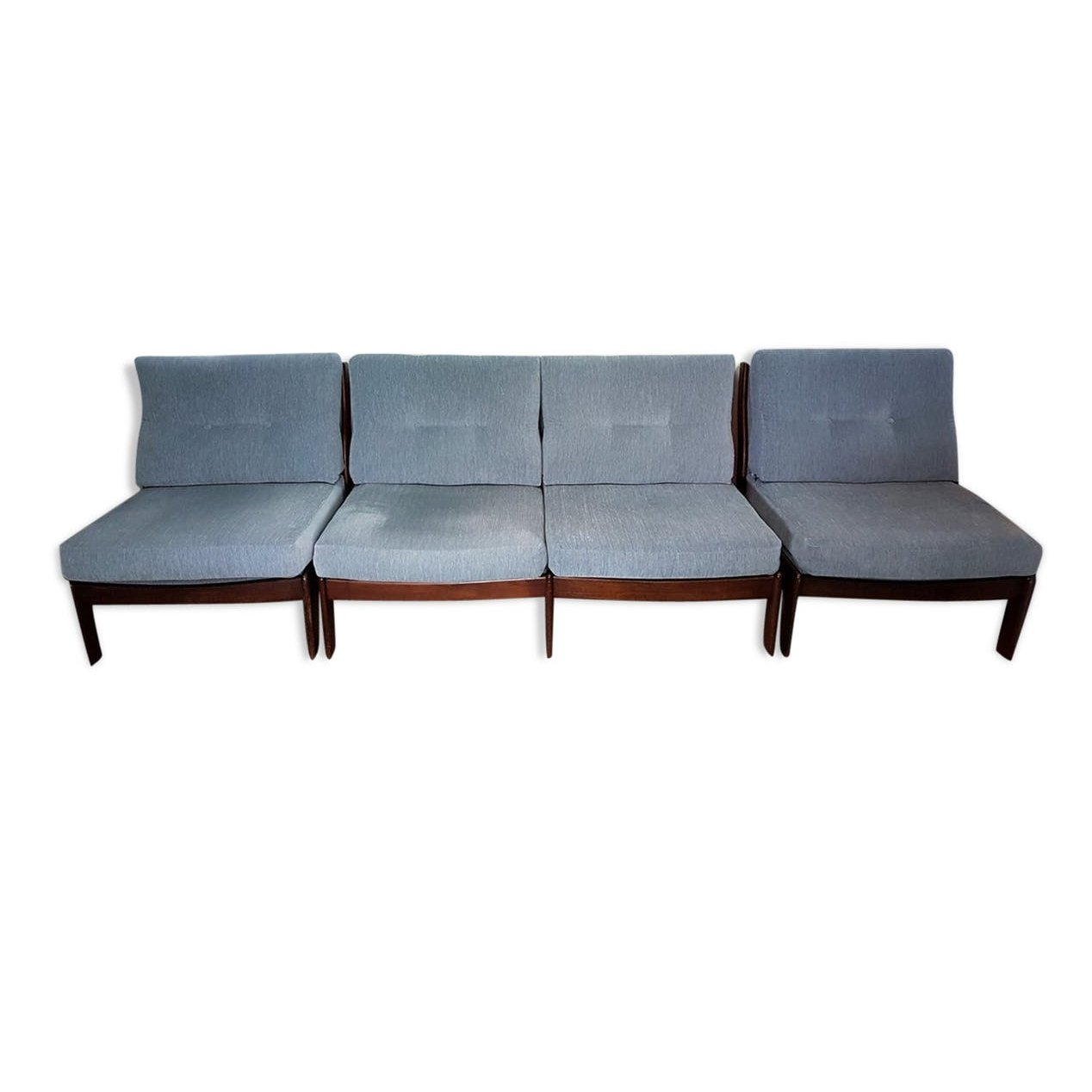 Attirant Danish Style Sofa U0026 Two Lounge Chairs In Petrol Fabric, 1960s