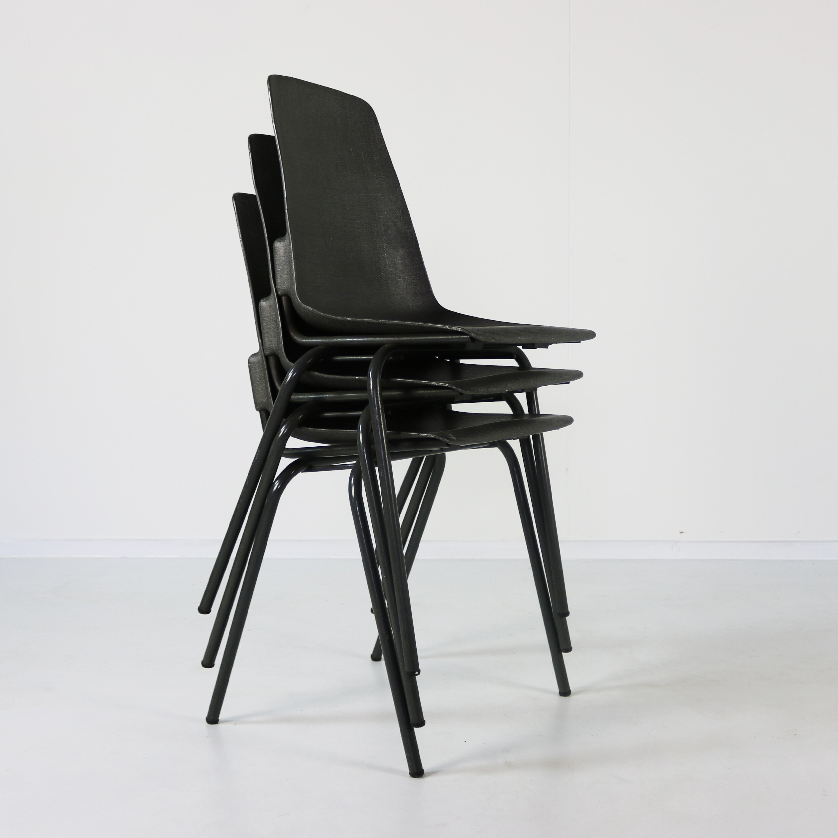 Three Stackable Small Kitchen Chairs By