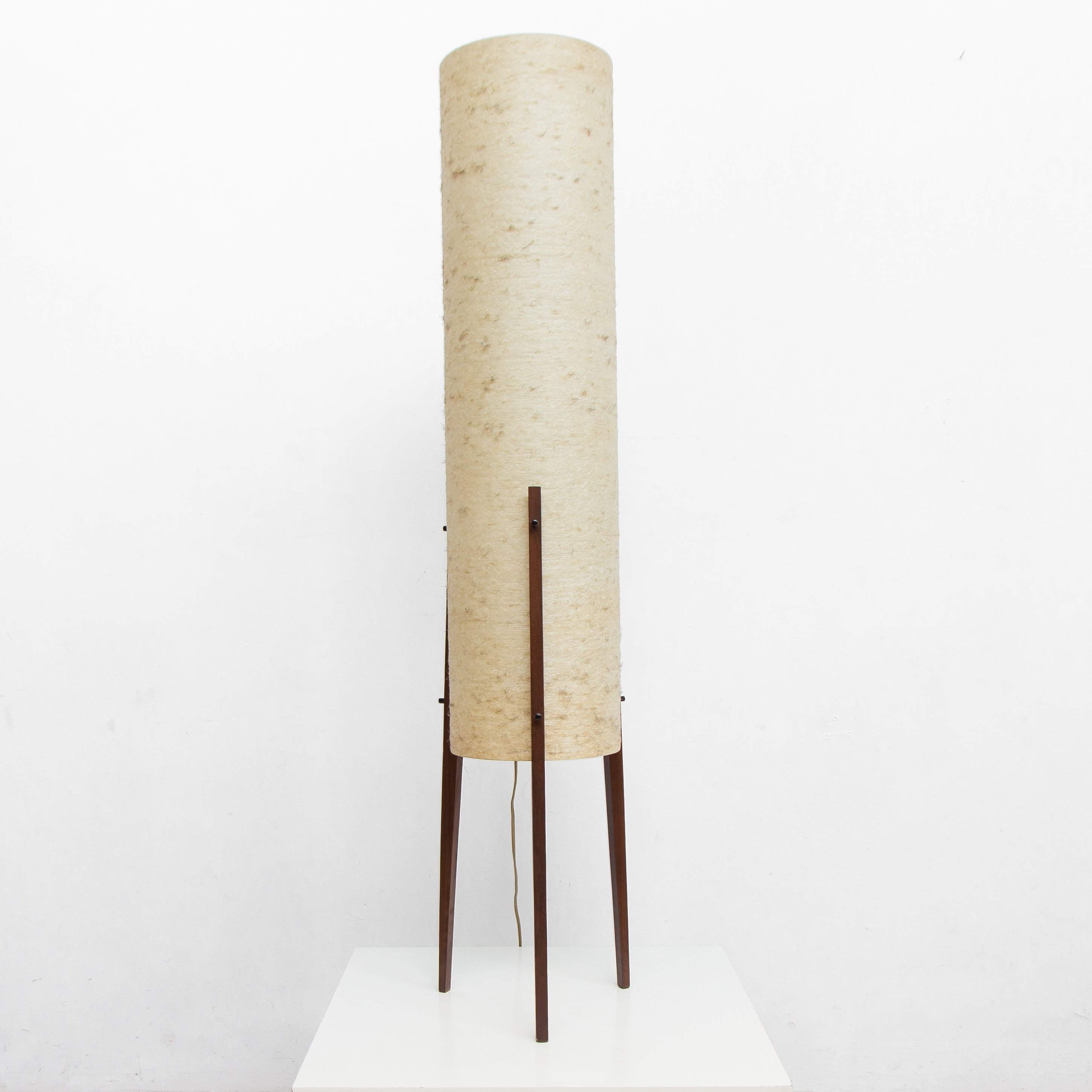 Wooden floor lamp with high cylindrical cream shade 1950s 84693 wooden floor lamp with high cylindrical cream shade 1950s aloadofball Gallery