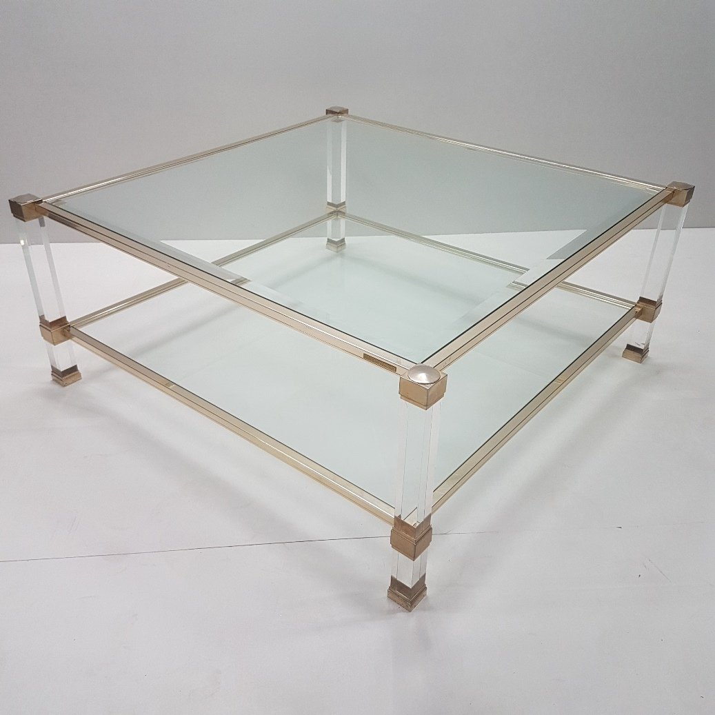 Lucite & Gilt Metal Square Coffee Table With 2 Glass