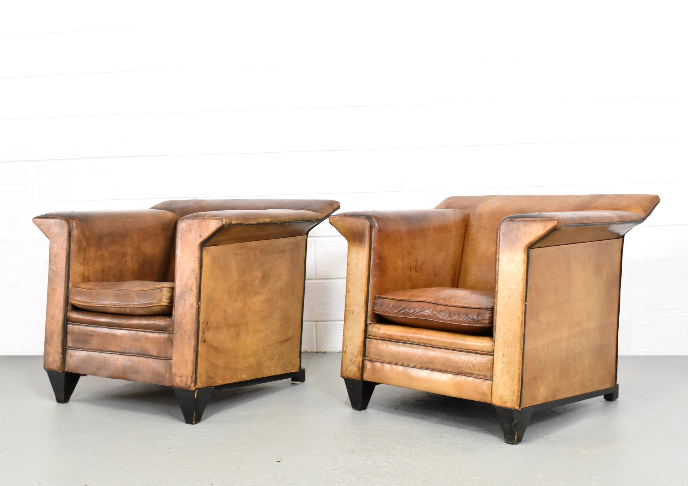 Set of bart van bekhoven leather lounge chairs s