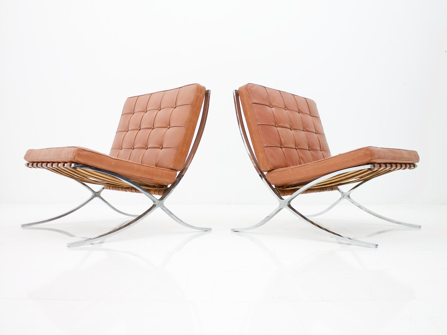 Rare Set Of Two Screwed Barcelona Chairs By Mies Van Der Rohe For