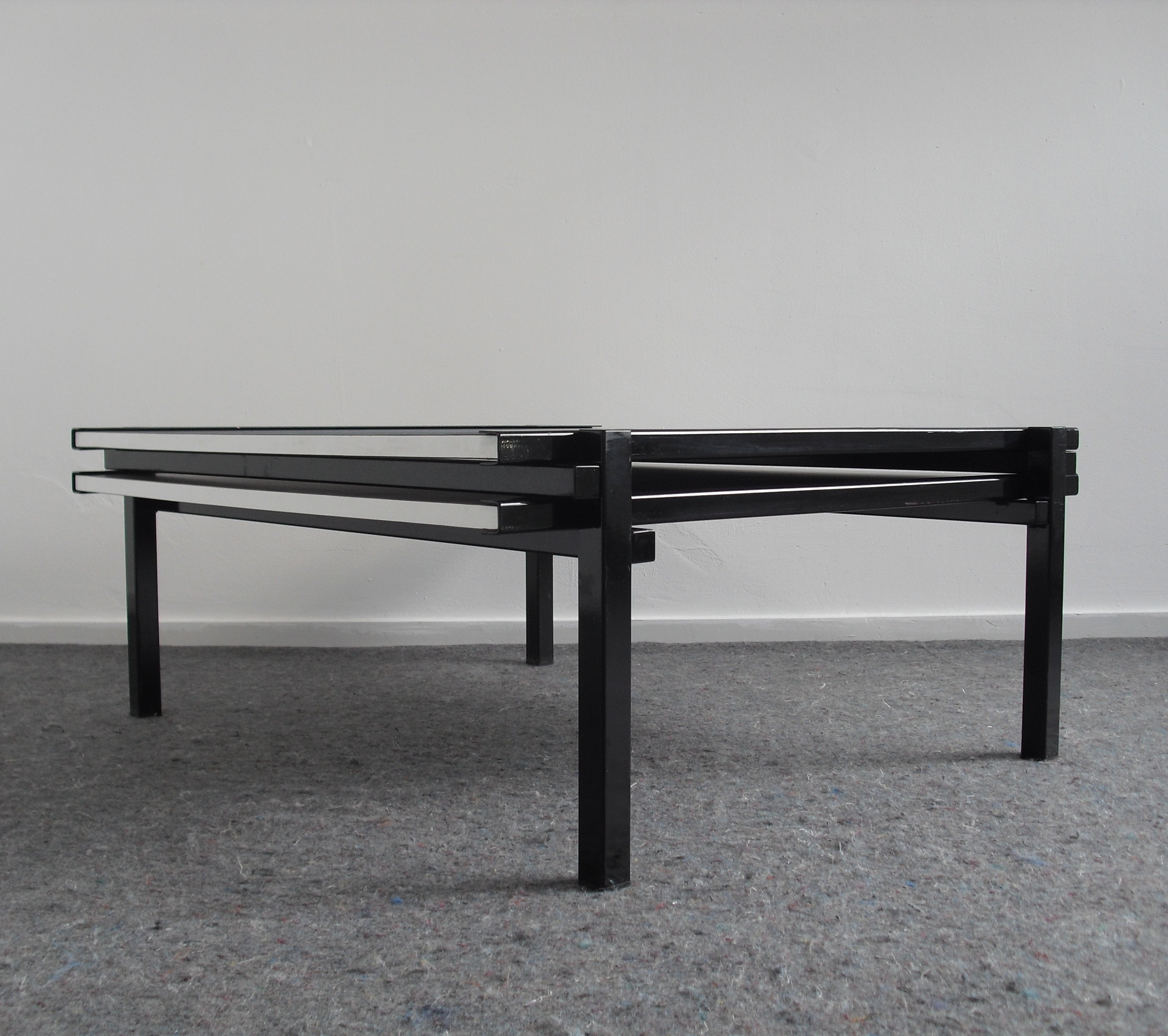 Ringgold Extendable Coffee Table With Storage: Postmodern Cubist Extendable Coffee Table, 1980's