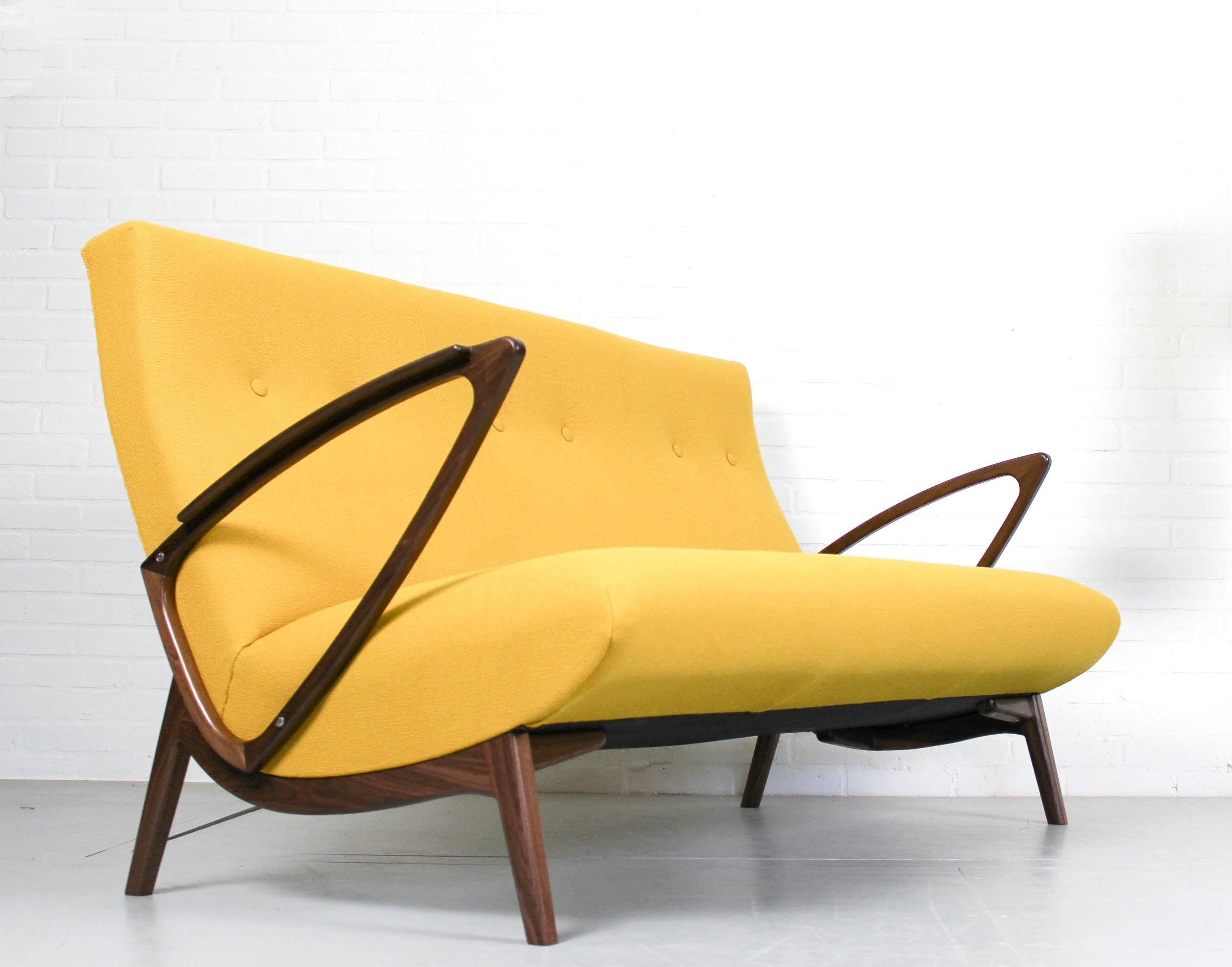 Midcentury Vintage Design Bank Sofa In Kvadrat Hallingdal Fabric, 1960s