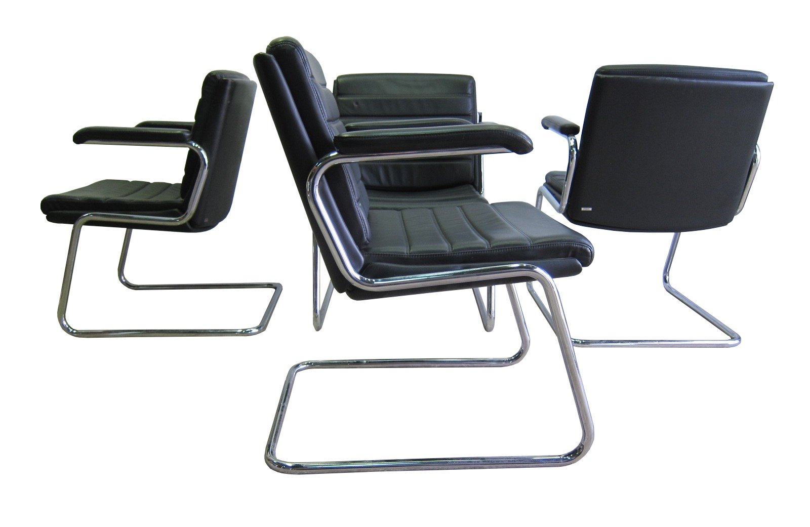Vintage Leather Chrome Office Chairs By Drabert