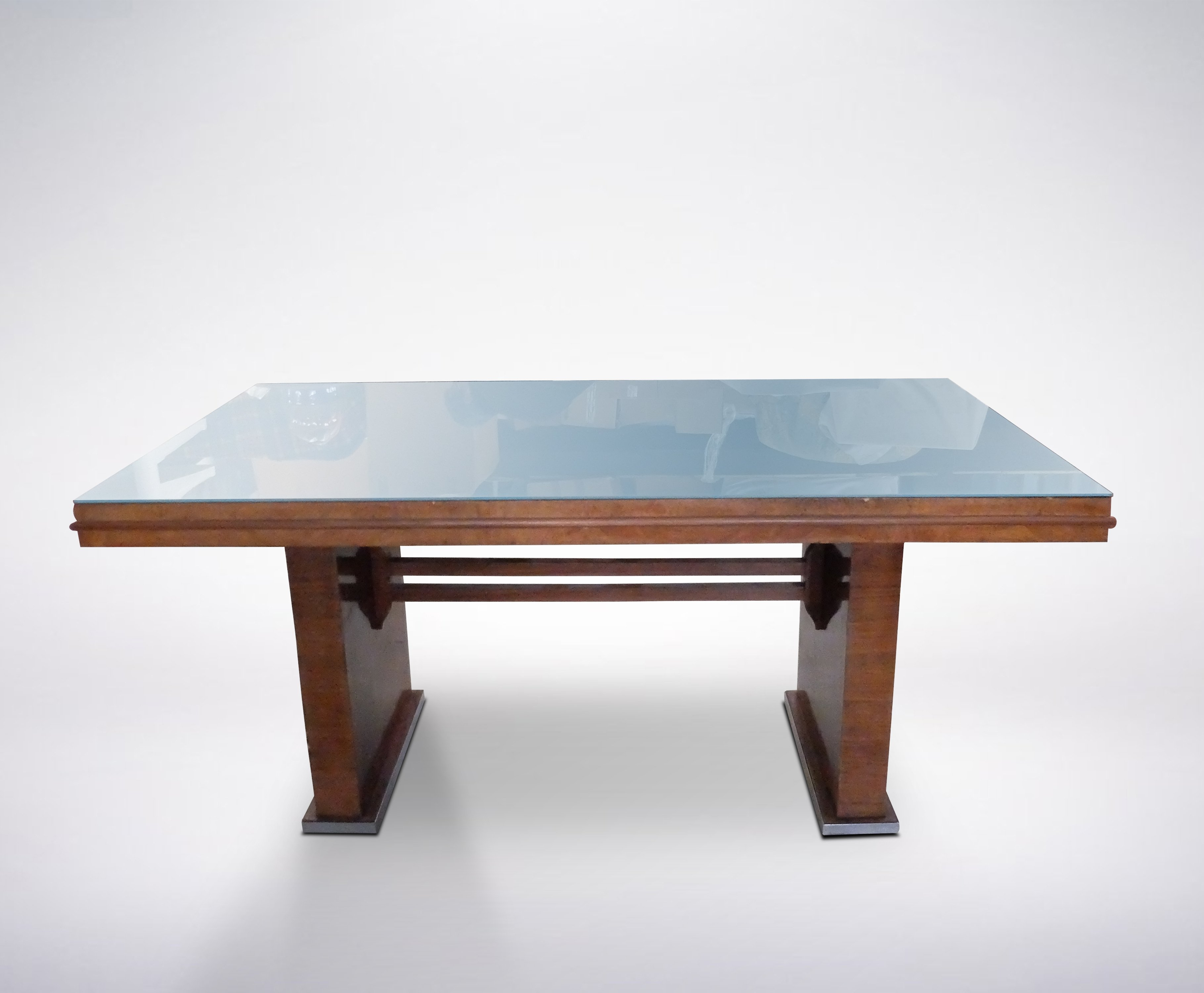 Italian Mid Century Wooden Desk With Blue Glass Table Top 1950s