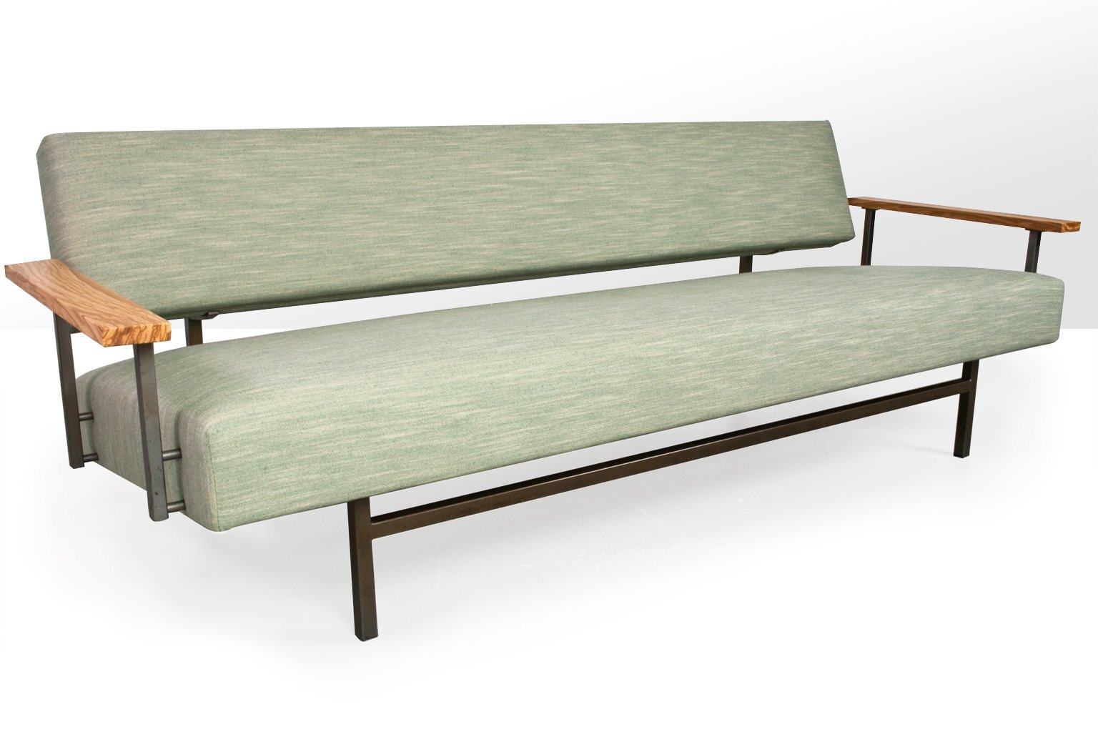 Rob Parry Sofa In Linnen Fabric Metal Frame Olive Floating Armrests 1960s