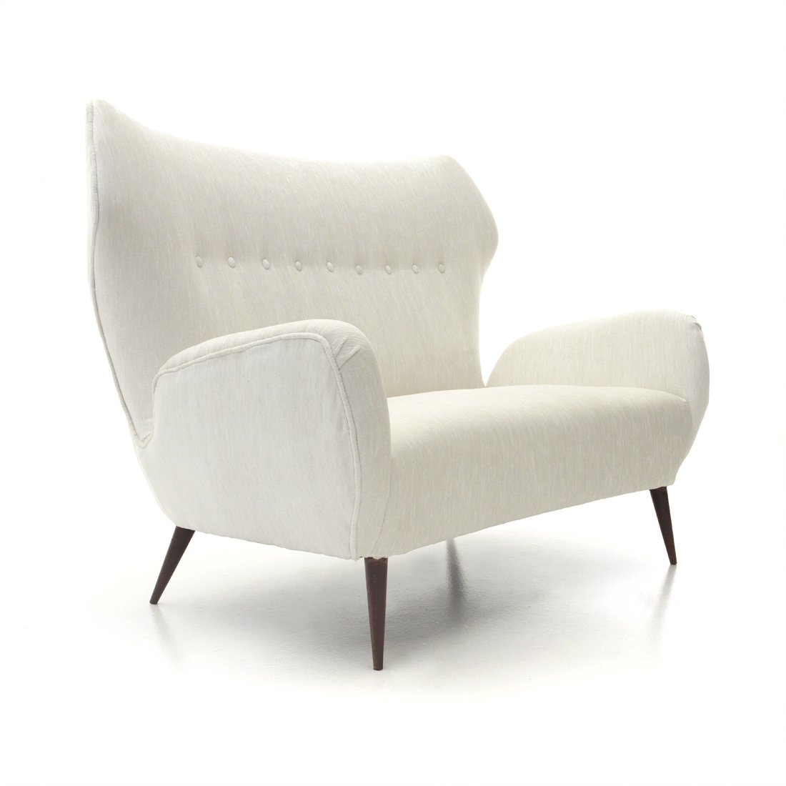 Italian mid century modern two seater sofa in white velvet 1940s